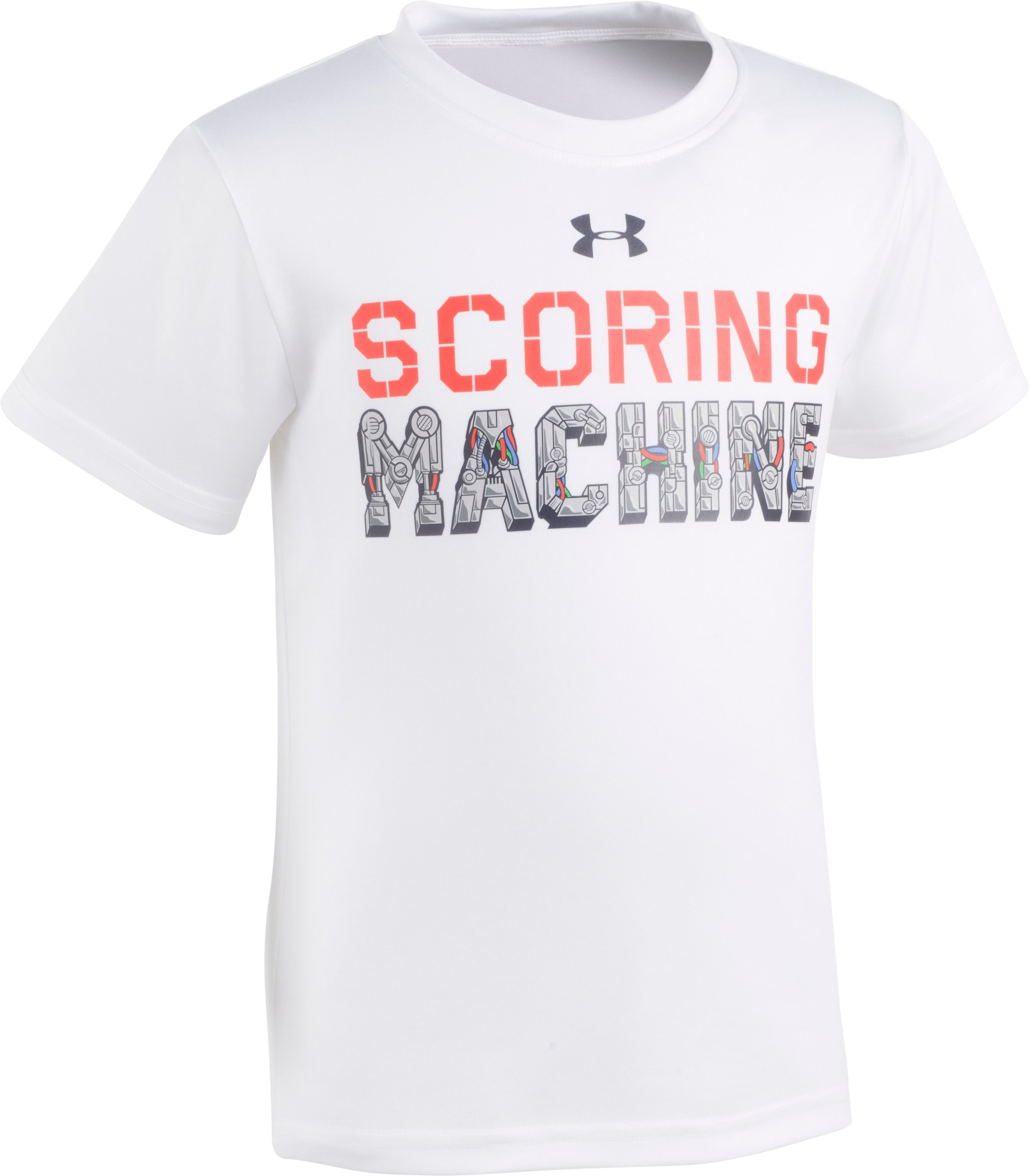 Boys' Pre-School UA Scoring Machine Short Sleeve Shirt, White, Laydown