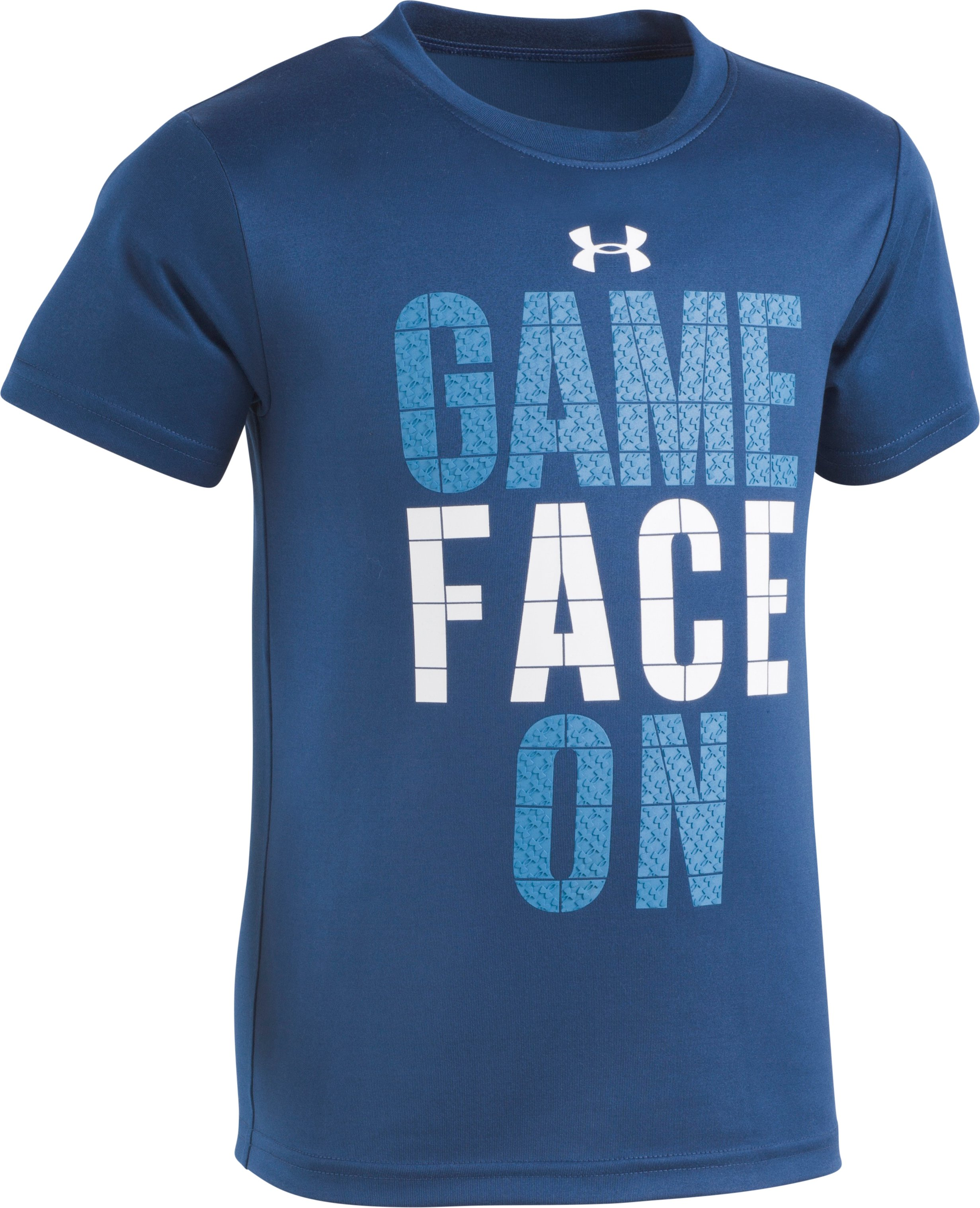 Boys' Pre-School UA Game Face On Short Sleeve Shirt, BLACKOUT NAVY, Laydown