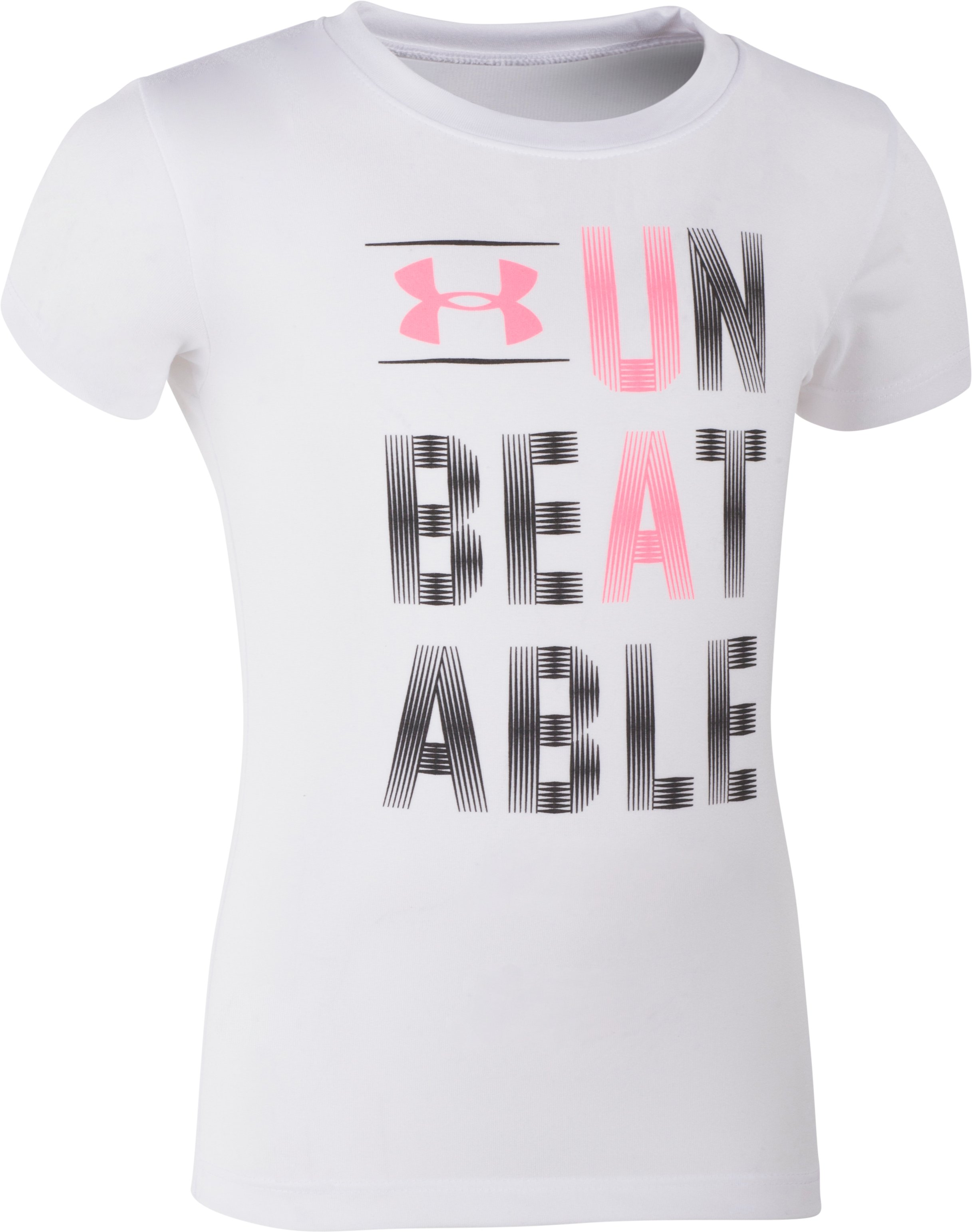 Girls' Pre-School UA Unbeatable T-Shirt, White, Laydown