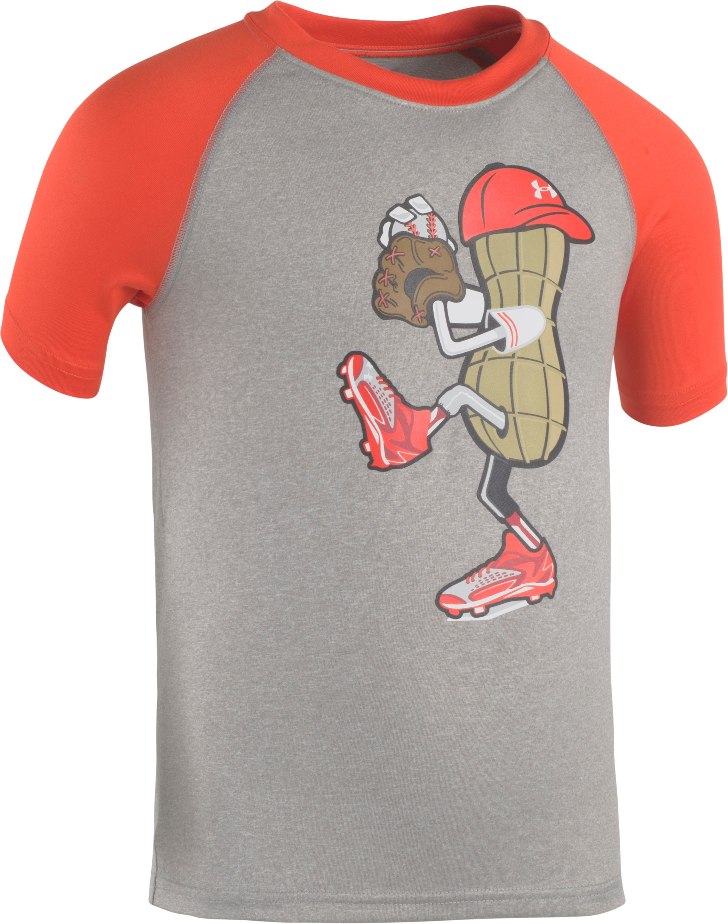 Boys' Toddler UA Peanut Pitcher Short Sleeve Shirt, True Gray Heather, Laydown