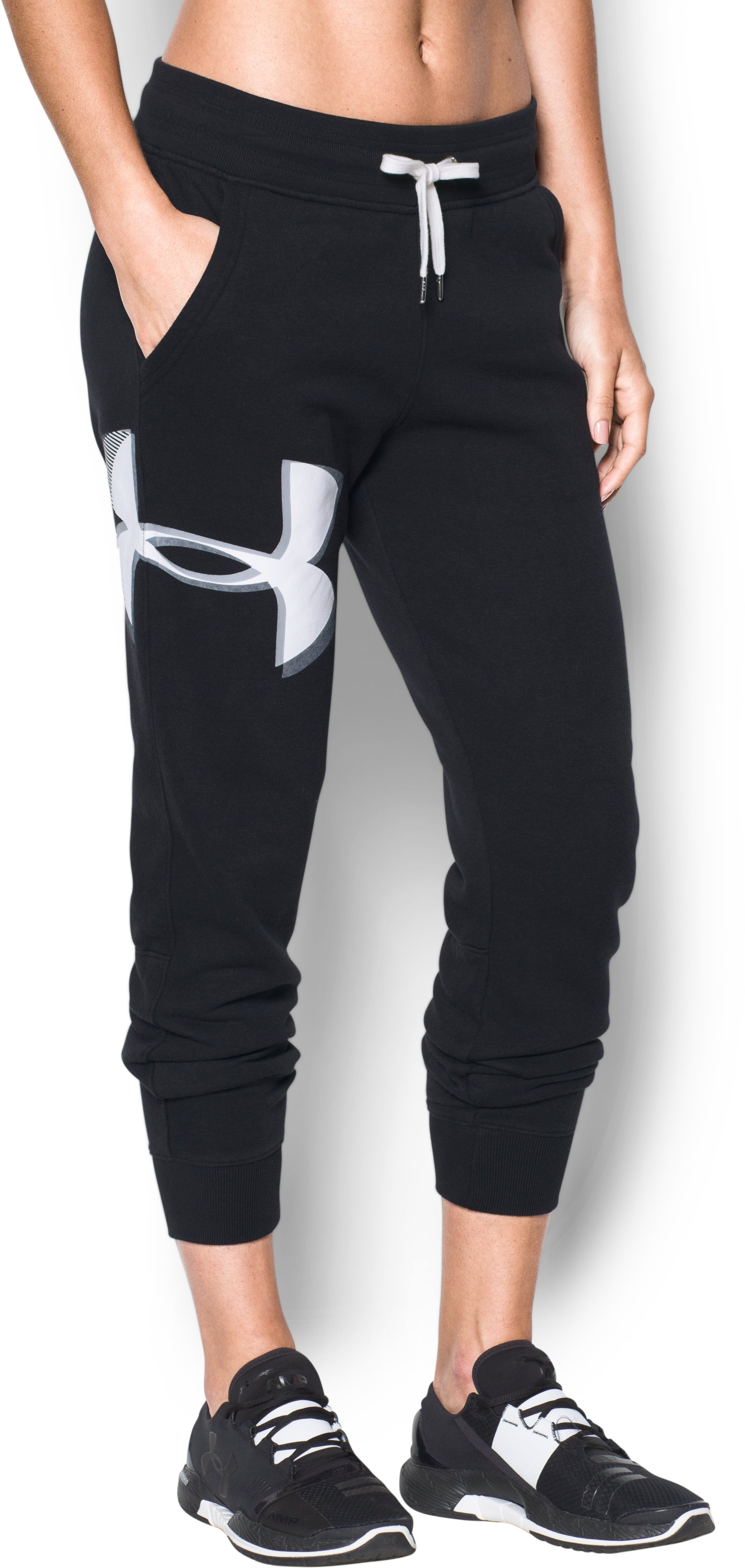 Women's UA Favorite Fleece Graphic Logo Pants, Black ,