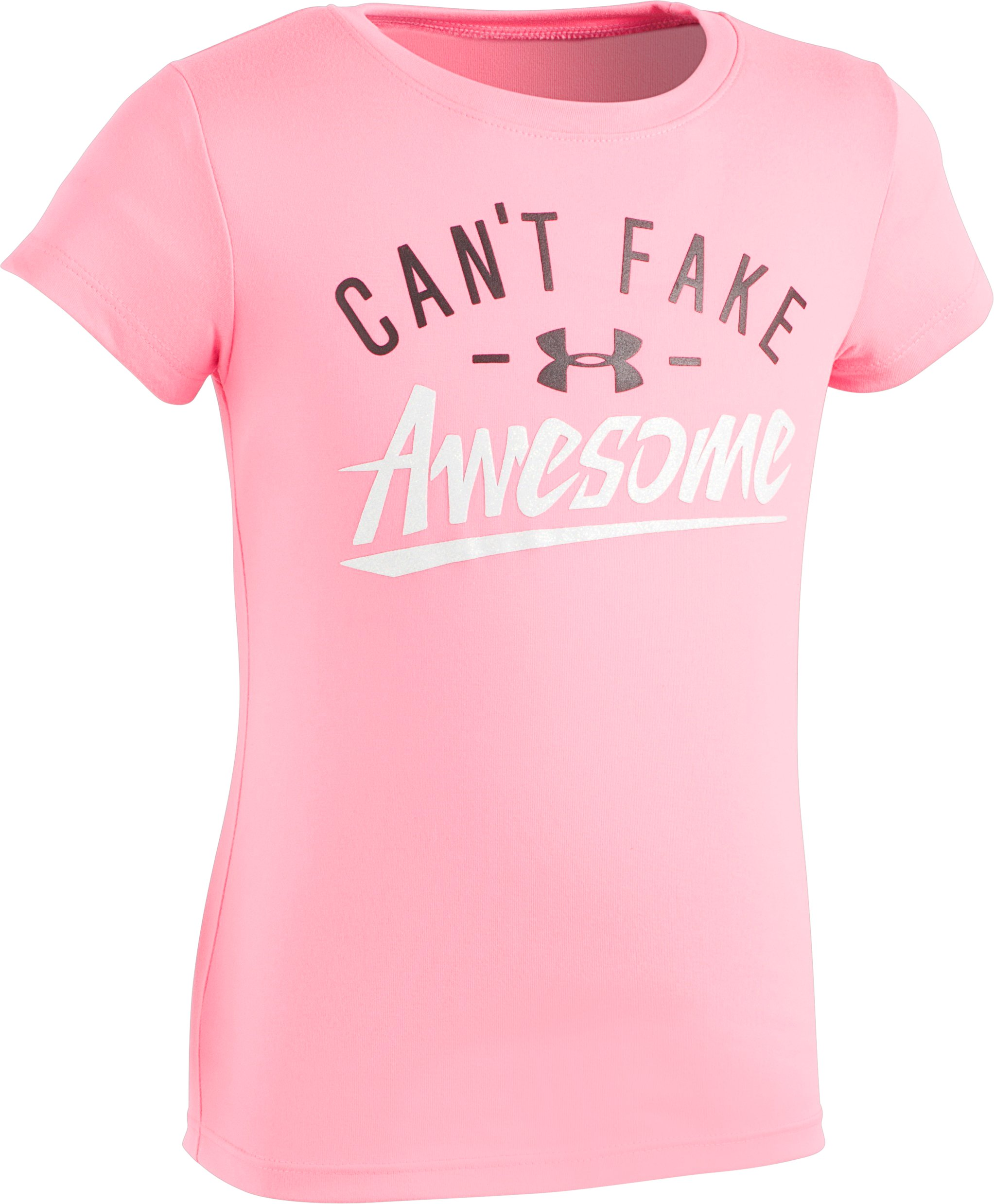 Girls' Infant UA Can't Fake Awesome T-Shirt, PINK PUNK, Laydown