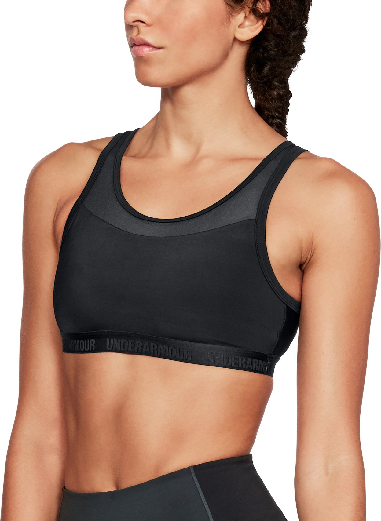Women's UA Low Mesh Scoop Back Sports Bra, Black ,