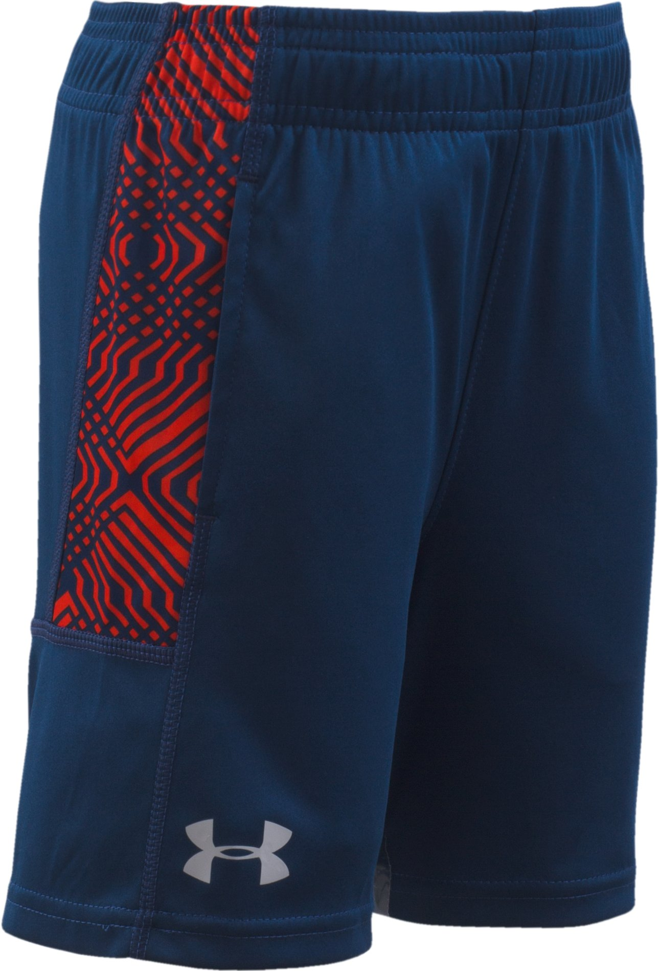 Boys' Toddler UA Midtown Grid Eliminator Shorts, BLACKOUT NAVY, Laydown