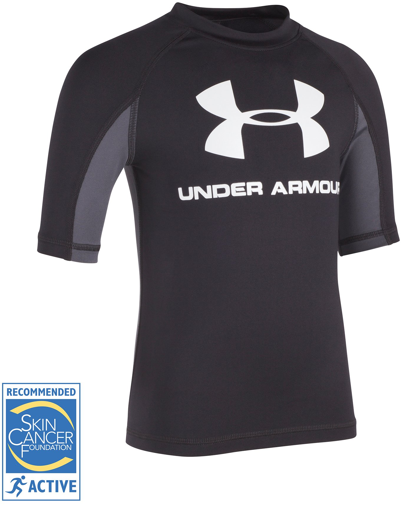 Boys' Pre-School UA Compression Rashguard Short Sleeve Shirt, Black , undefined