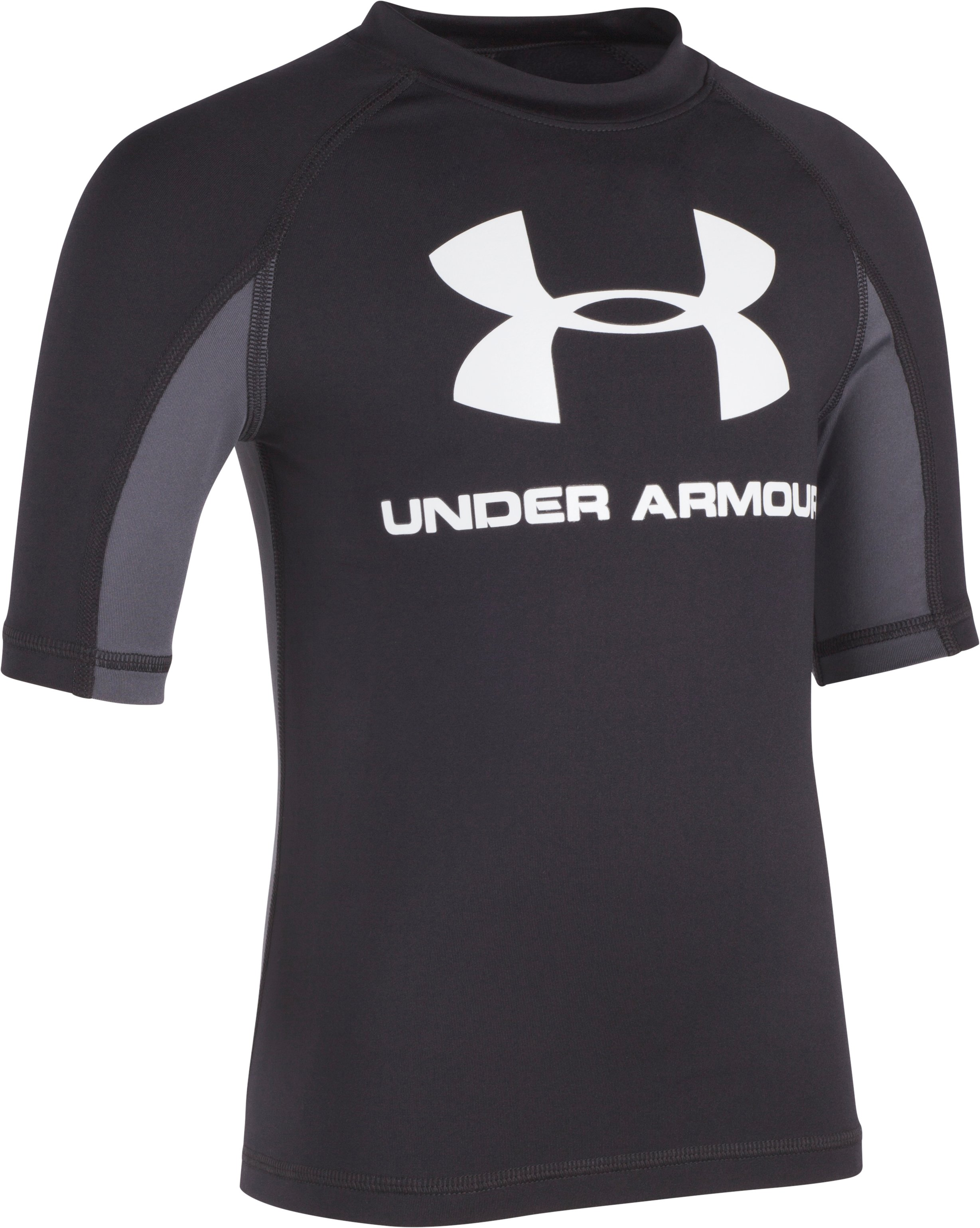 Boys' Pre-School UA Compression Rashguard Short Sleeve Shirt, Black , Laydown