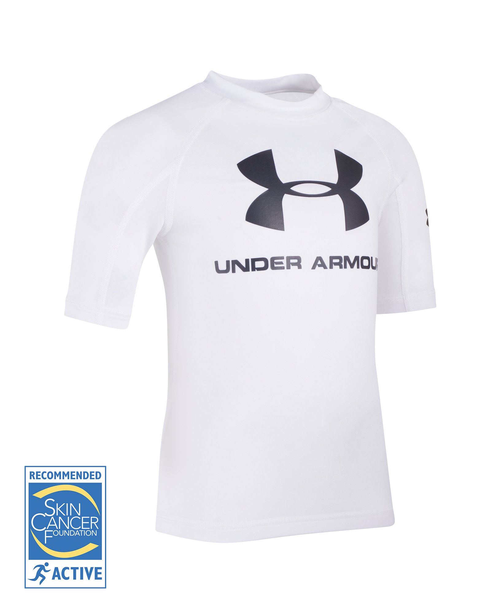 Boys' Pre-School UA Compression Rashguard Short Sleeve Shirt, White, undefined