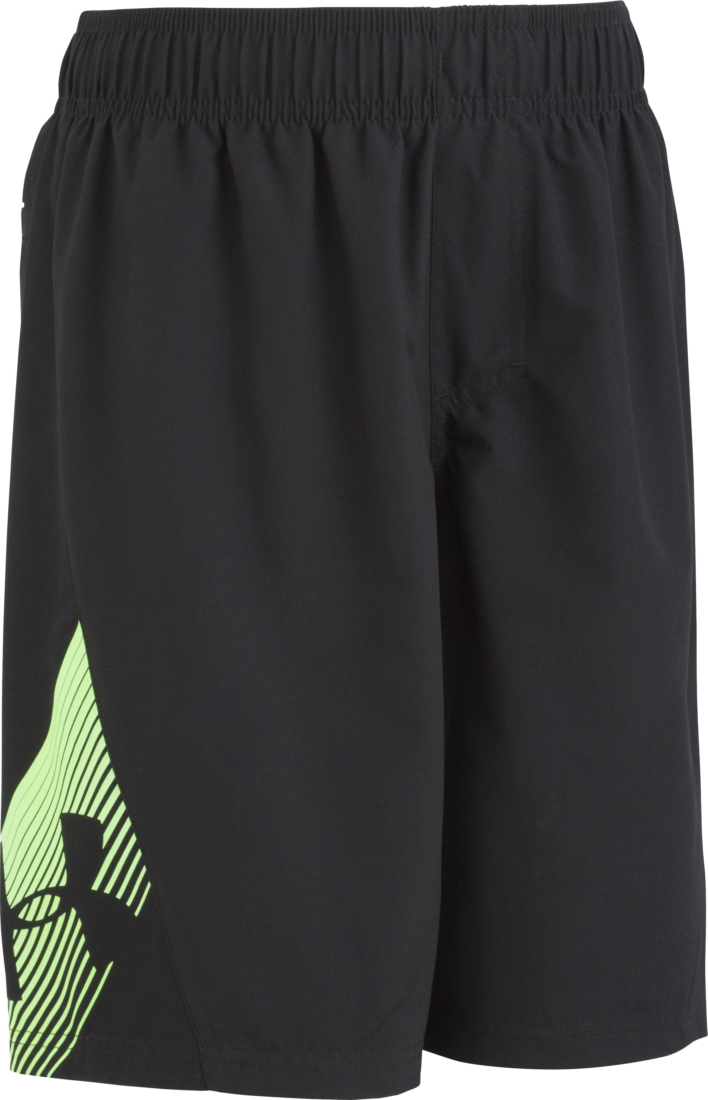 Boys' Pre-School UA Entry Solid Boardshorts, Black , Laydown