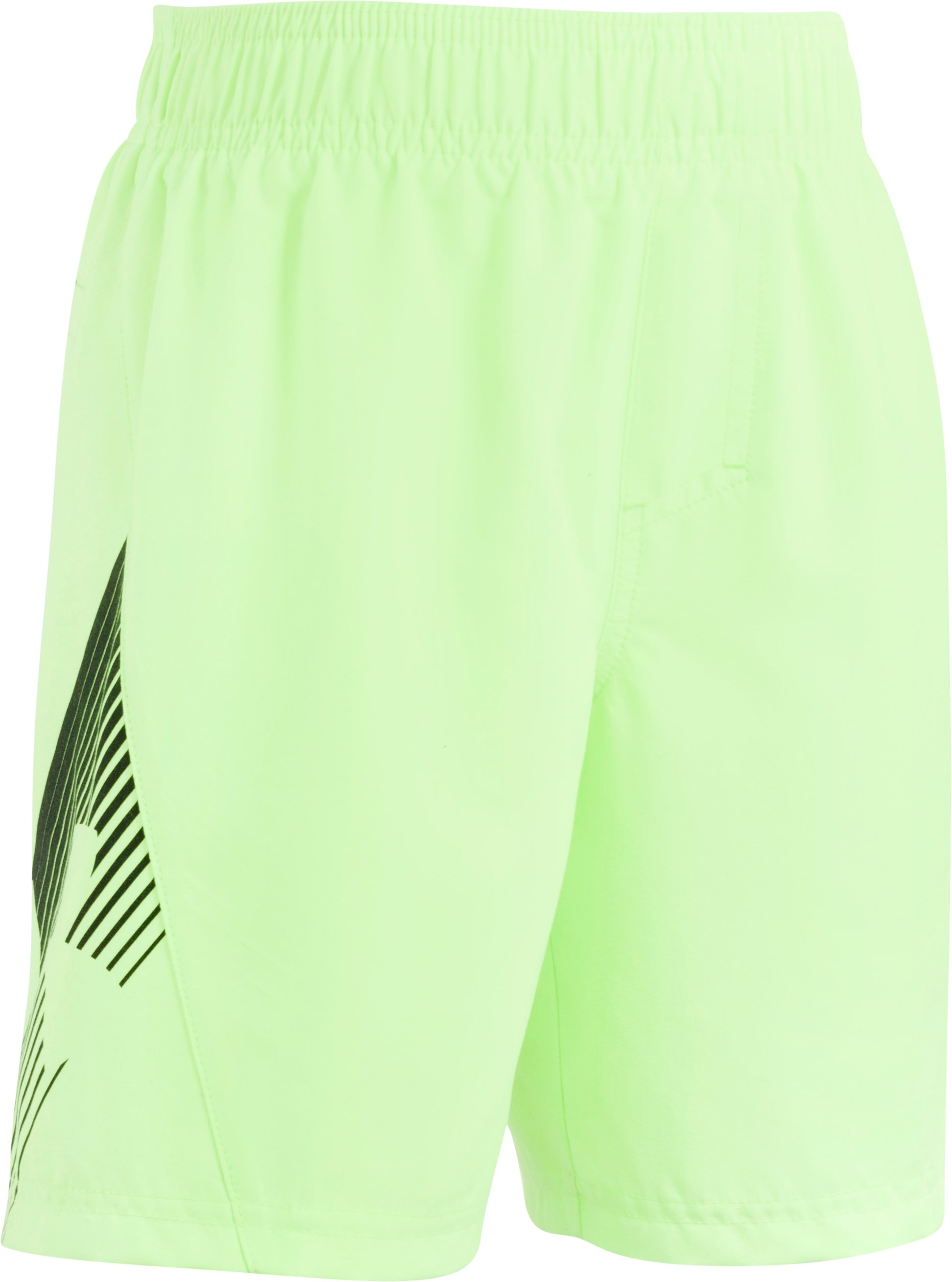 Boys' Toddler UA Entry Solid Boardshorts, FUEL GREEN, Laydown