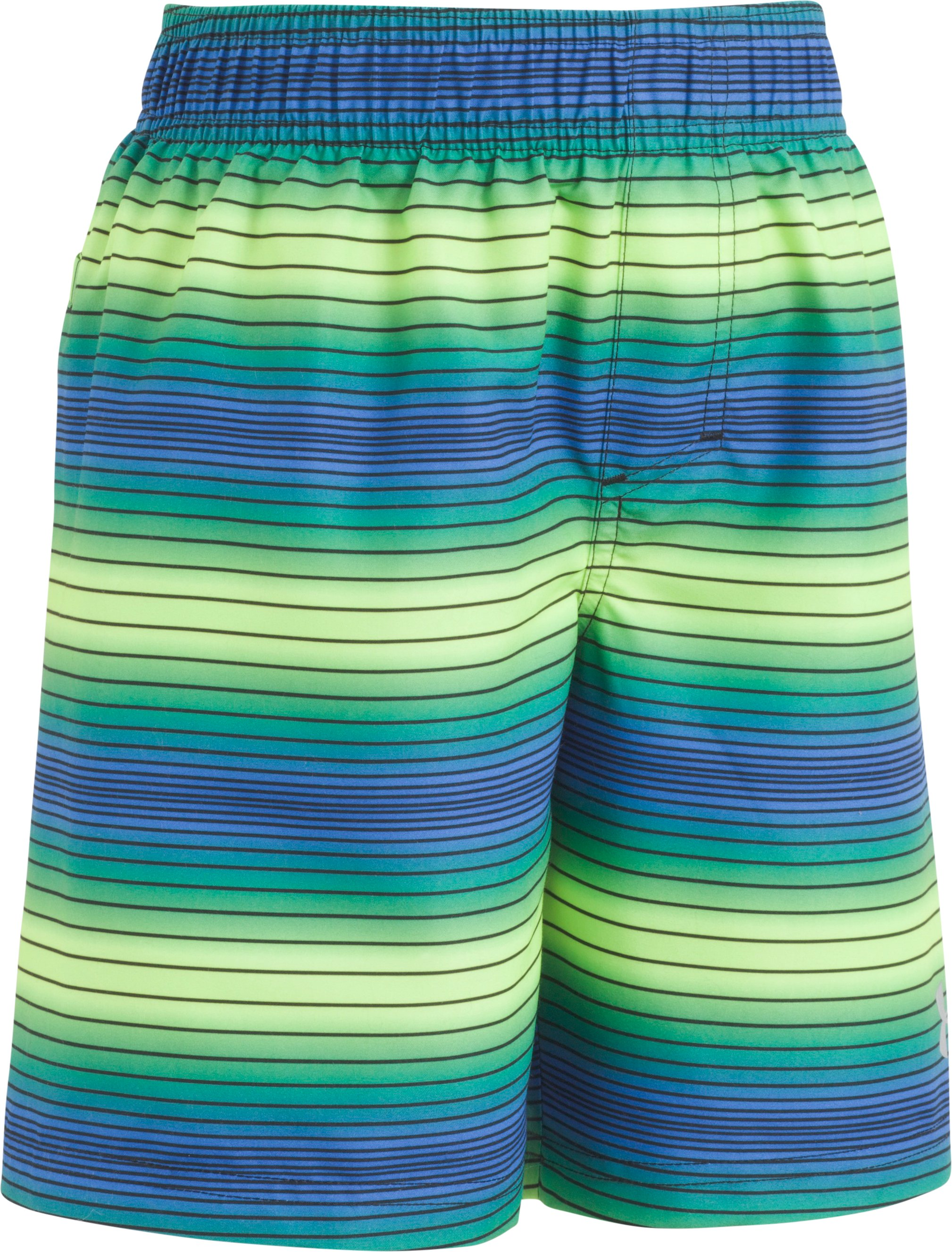 Boys' Infant UA Pulse Stripe Volley Shorts, FUEL GREEN, Laydown