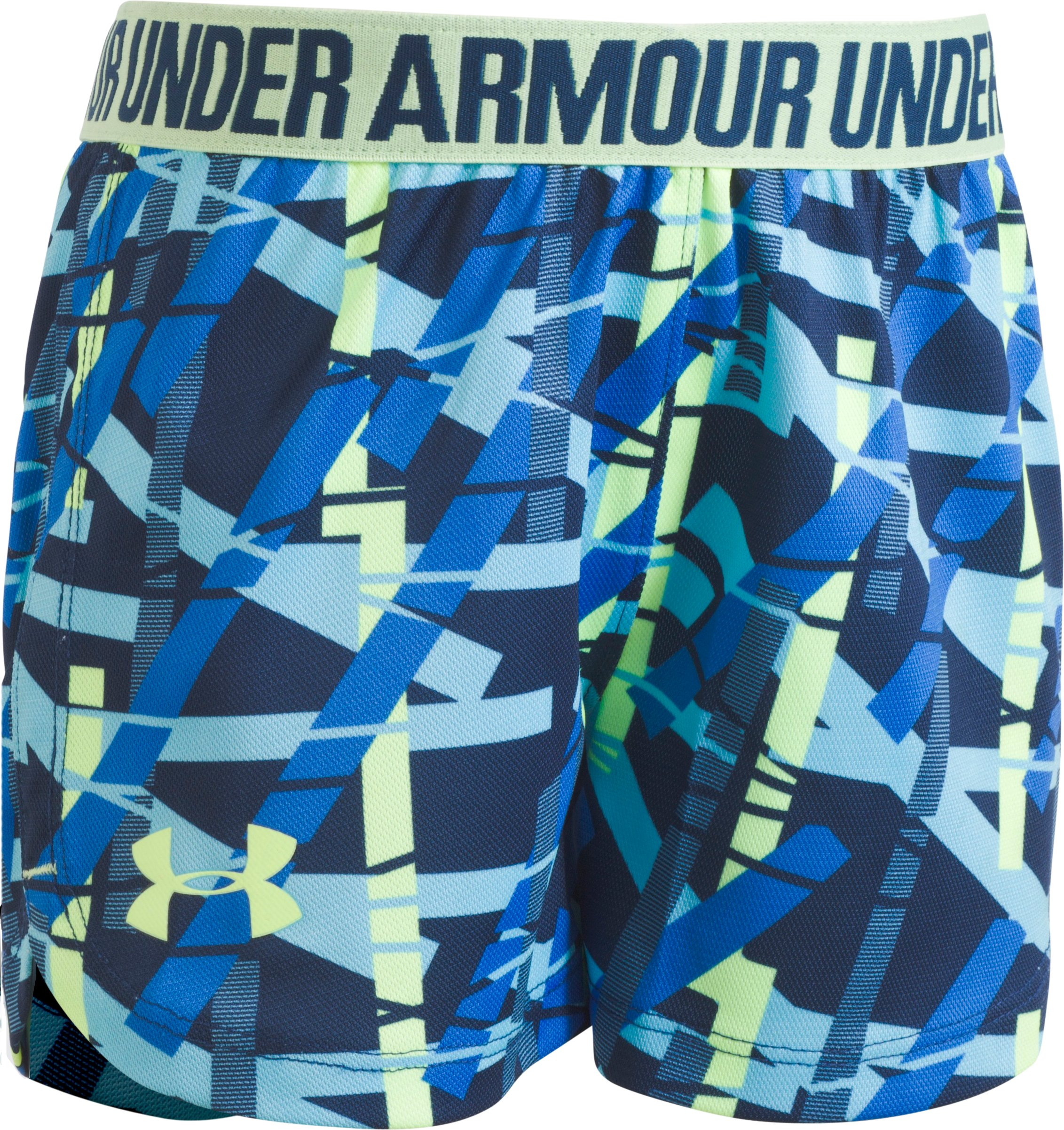 Girls' Pre-School UA Ladders Play Up Shorts, Venetian Blue, zoomed image