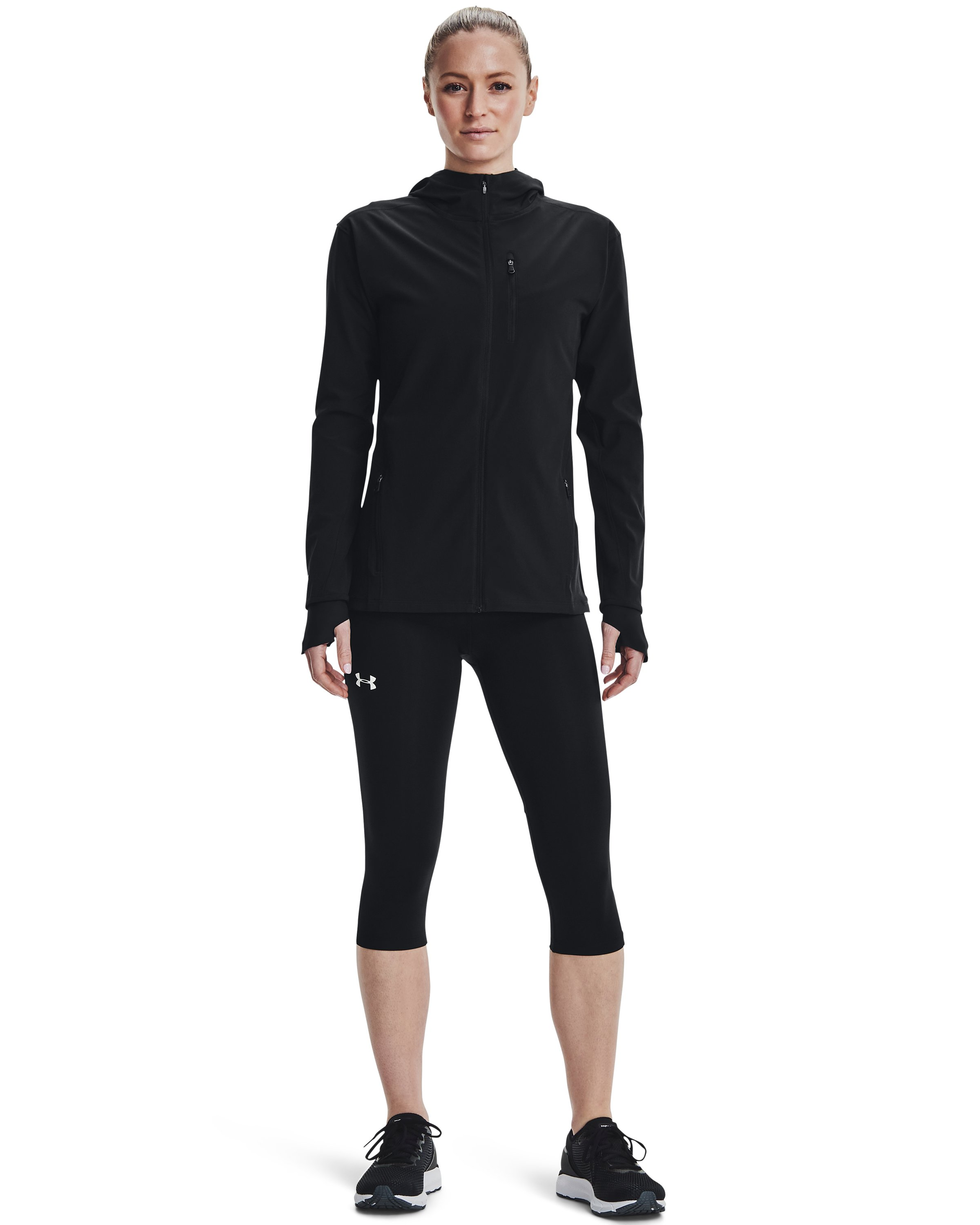 Women's UA Outrun The Storm Jacket, Black ,