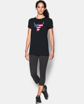 Women's Freedom Rock The Troops Bull T-Shirt  1 Color $17.99