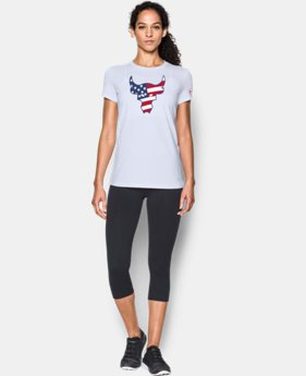 New Arrival Women's Freedom Rock The Troops Bull T-Shirt   $29.99