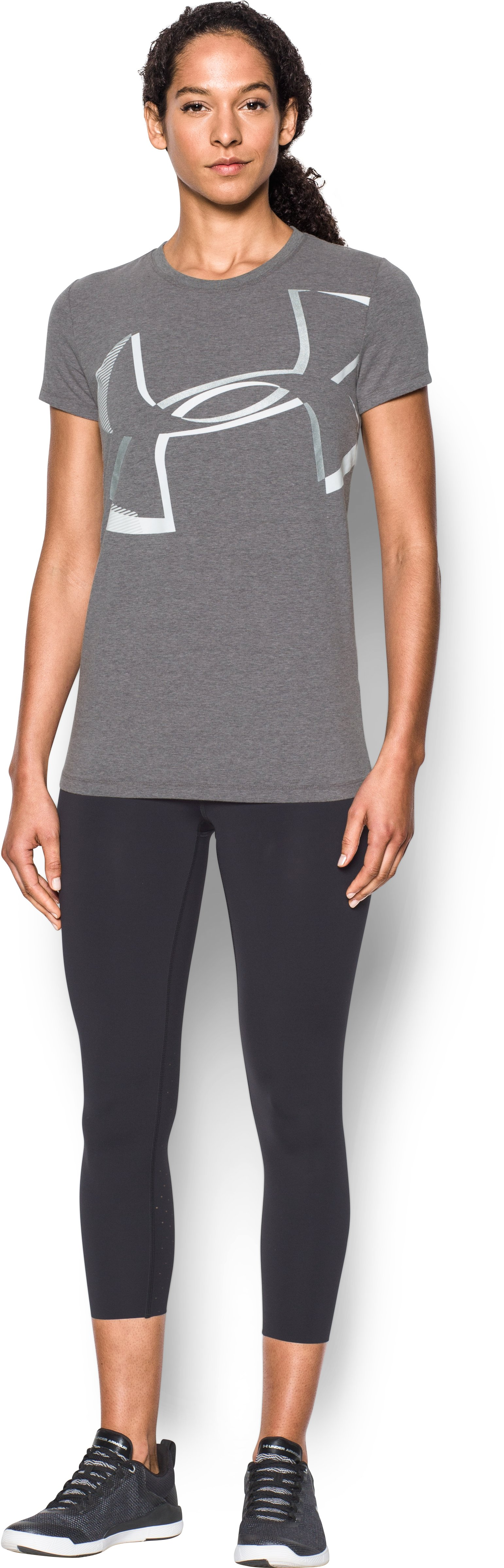 Women's UA Sportstyle Big Logo Crew, Carbon Heather, Front
