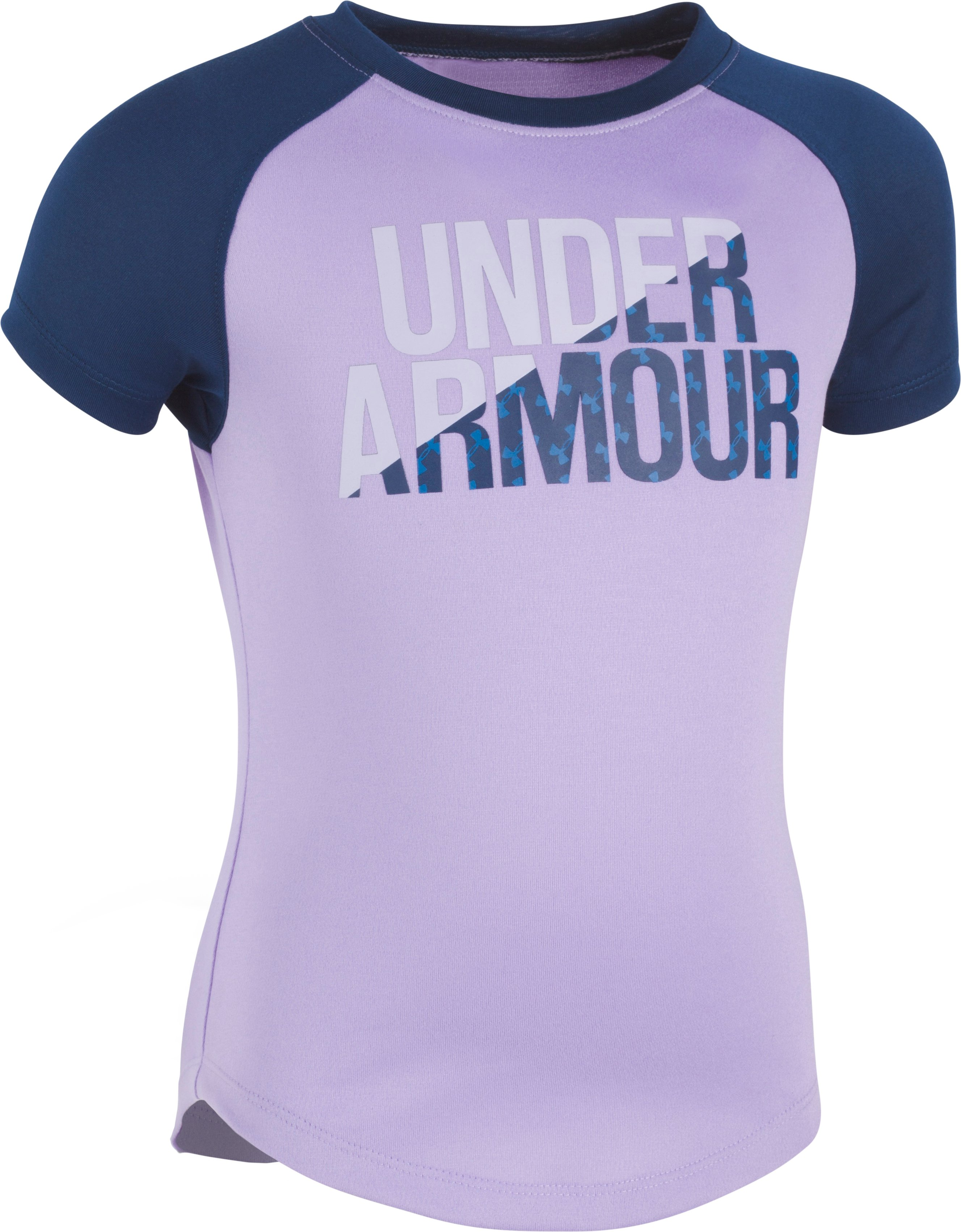 Girls' Pre-School UA Wordmark Raglan T-Shirt, DARK LAVENDER, Laydown