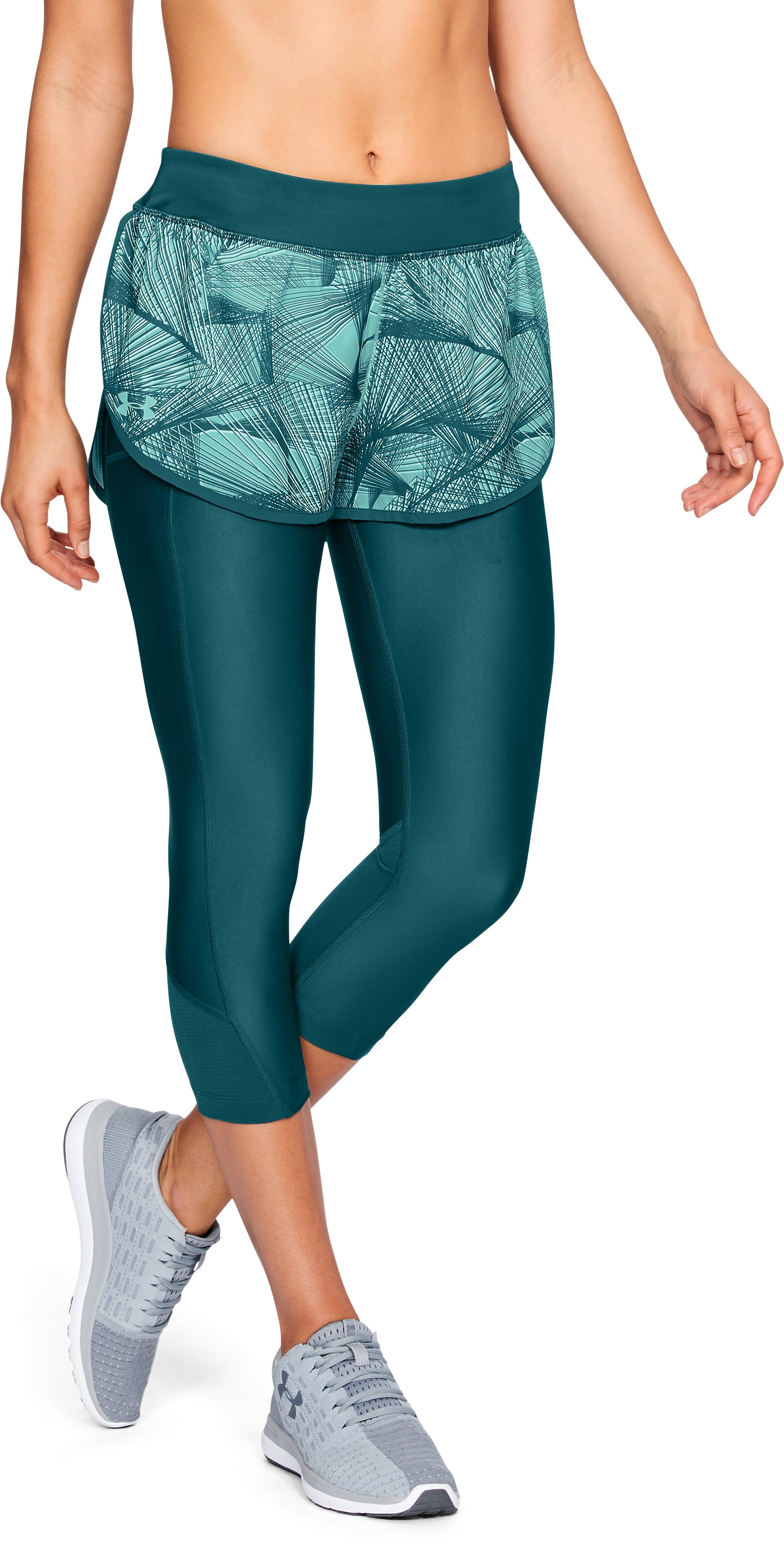 Women's UA Armour Fly Fast Printed Shapri, TOURMALINE TEAL,