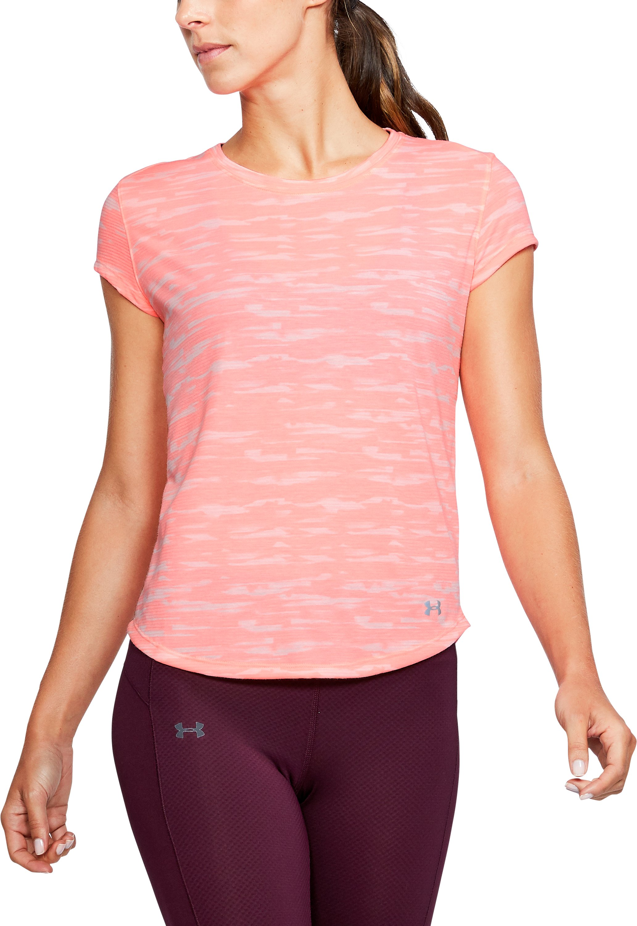 Women's UA Threadborne™ Run Mesh Printed Short Sleeve, CAPE CORAL