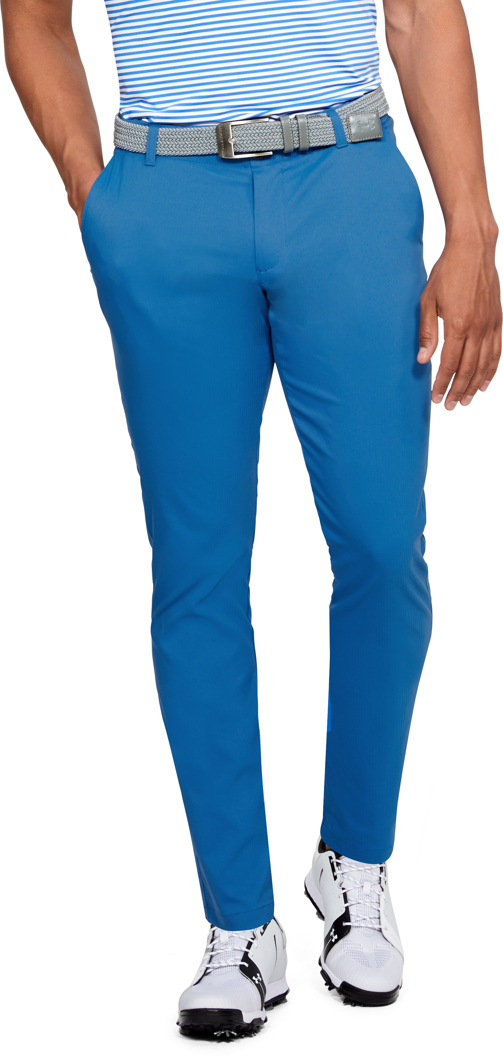 Men's UA Showdown Tapered Pants, Mediterranean, zoomed