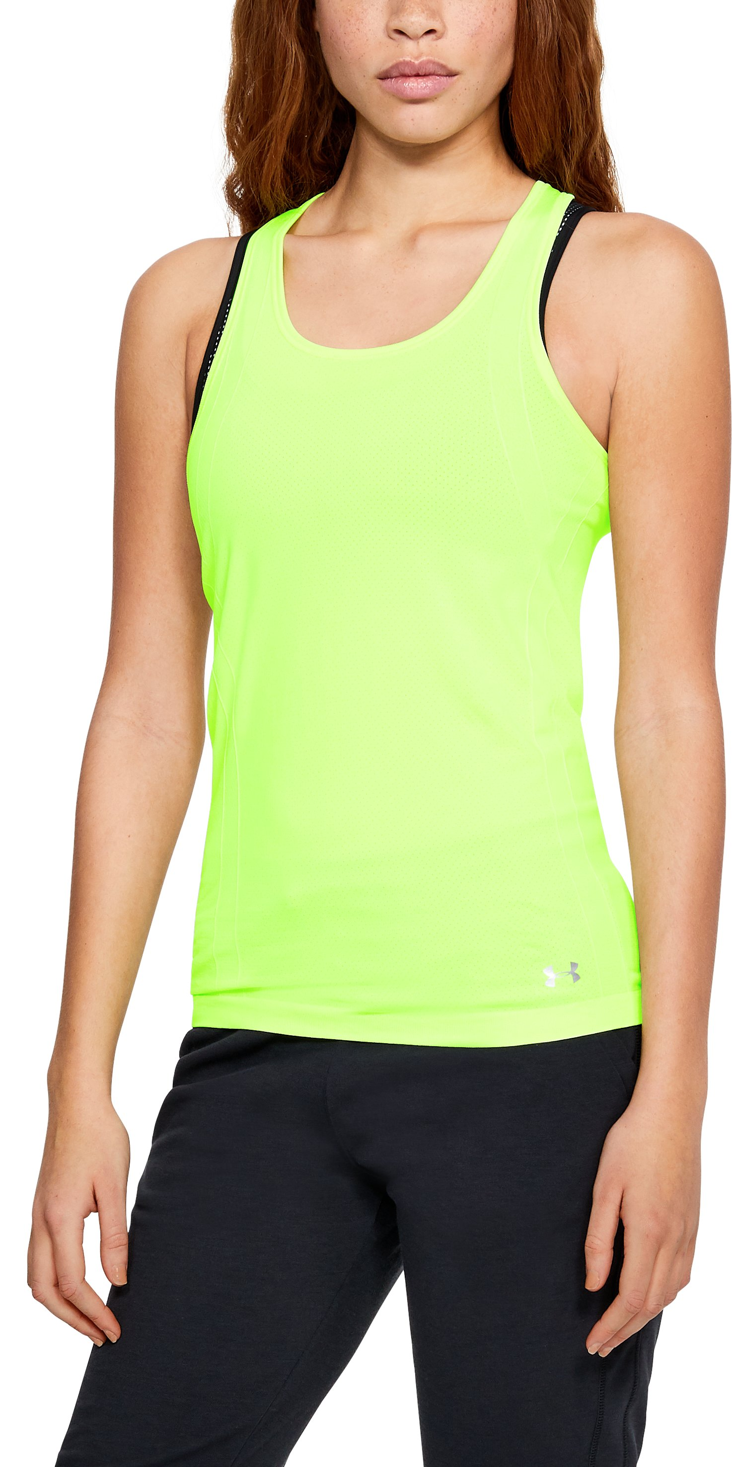 Women's UA Threadborne™ Seamless Heathered Racer Tank, QUIRKY LIME