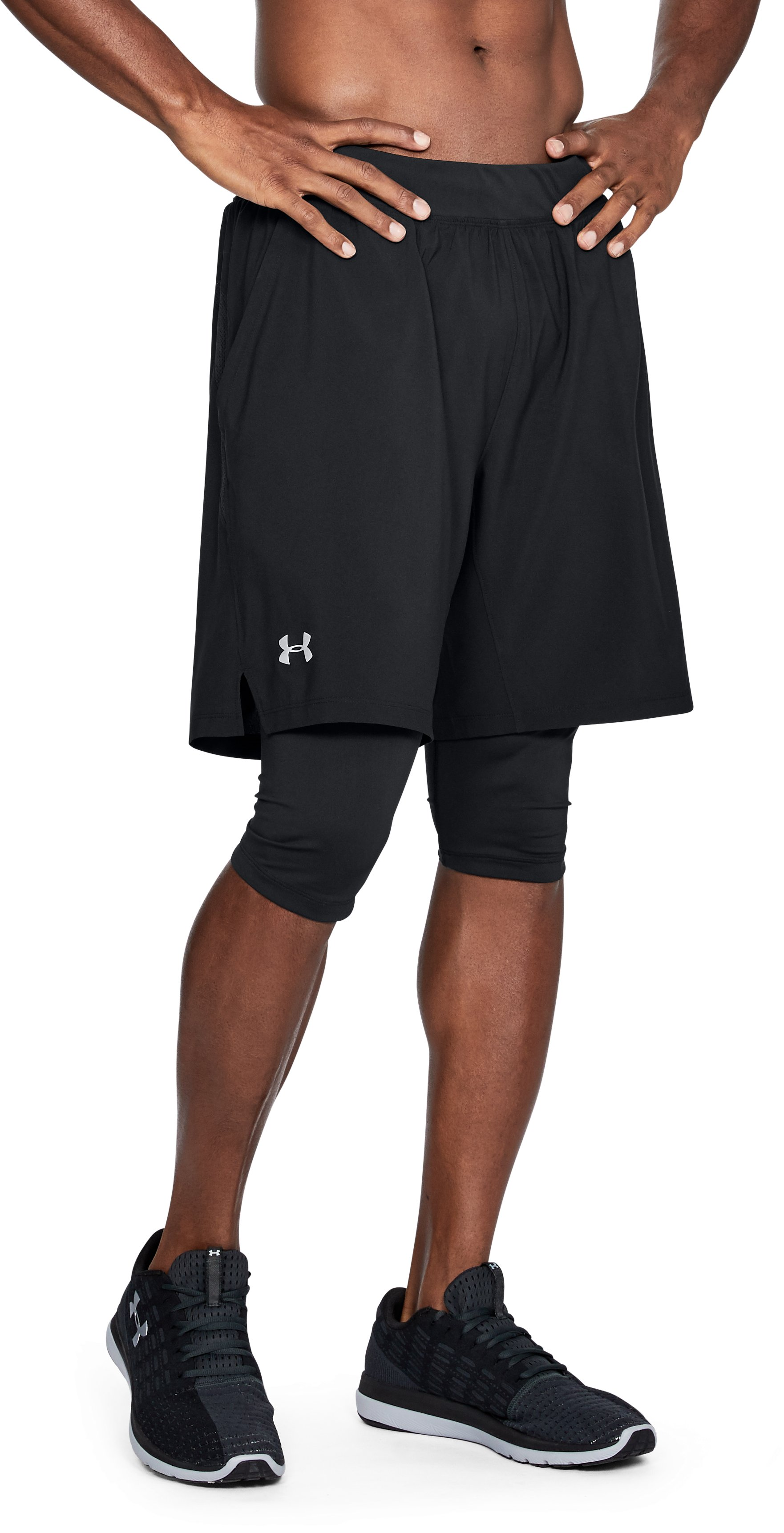 Men's UA Launch 2-in1 Long Shorts, Black ,
