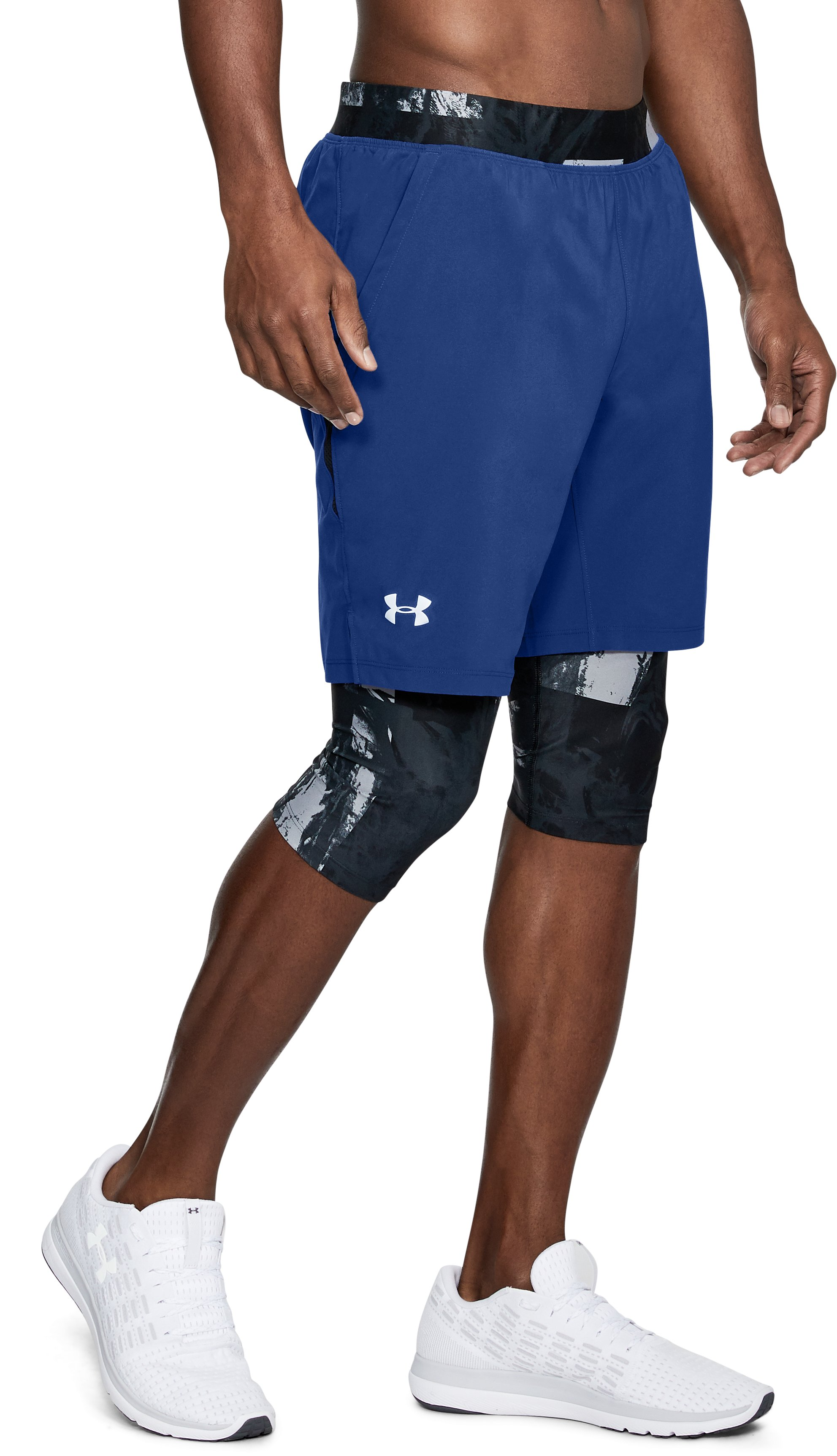 Men's UA Launch 2-in1 Long Shorts, FORMATION BLUE
