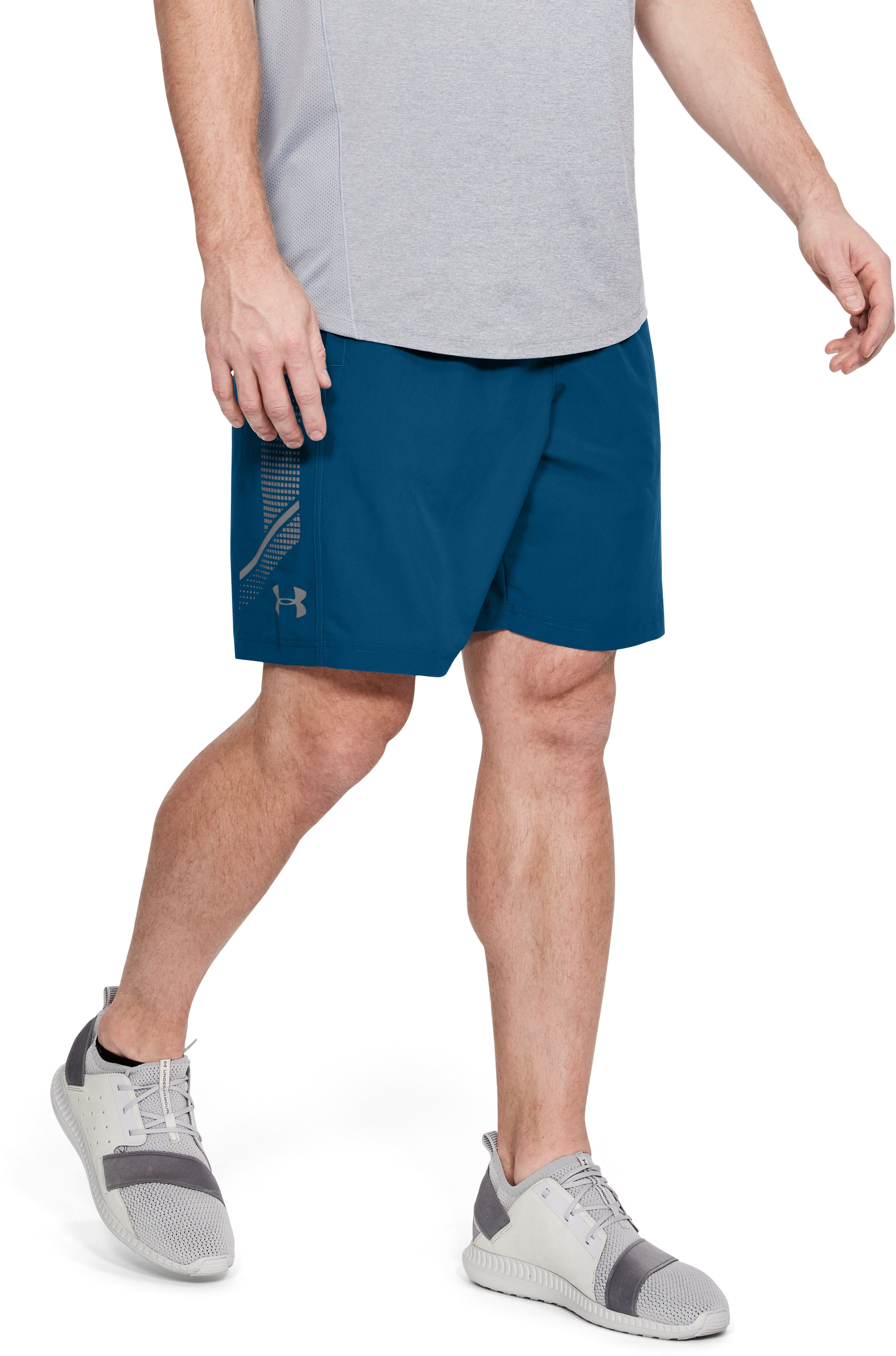 Men's UA Woven Graphic Shorts, MOROCCAN BLUE