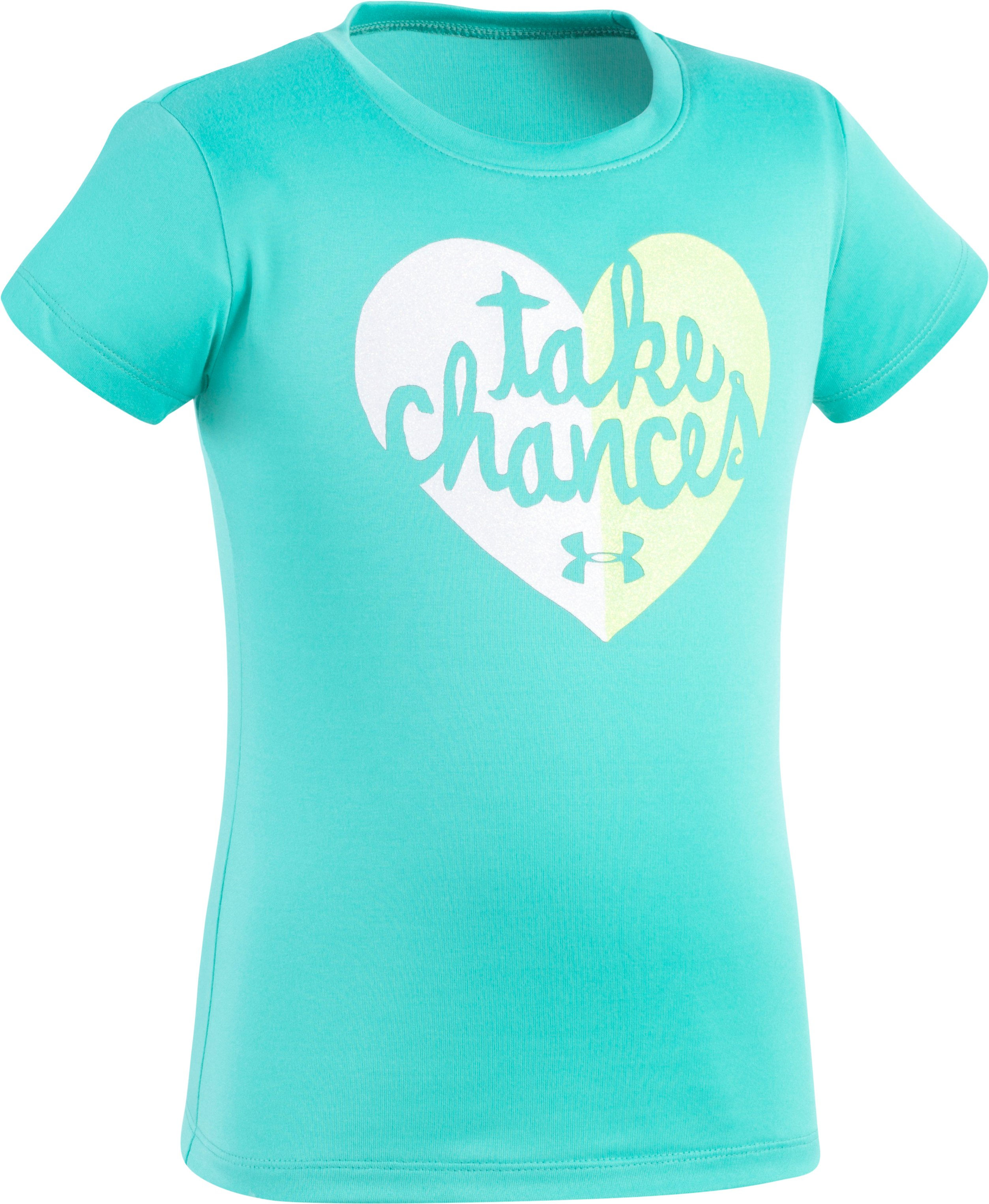 Girls' Pre-School UA Take Chances T-Shirt, ABSINTHE GREEN, Laydown