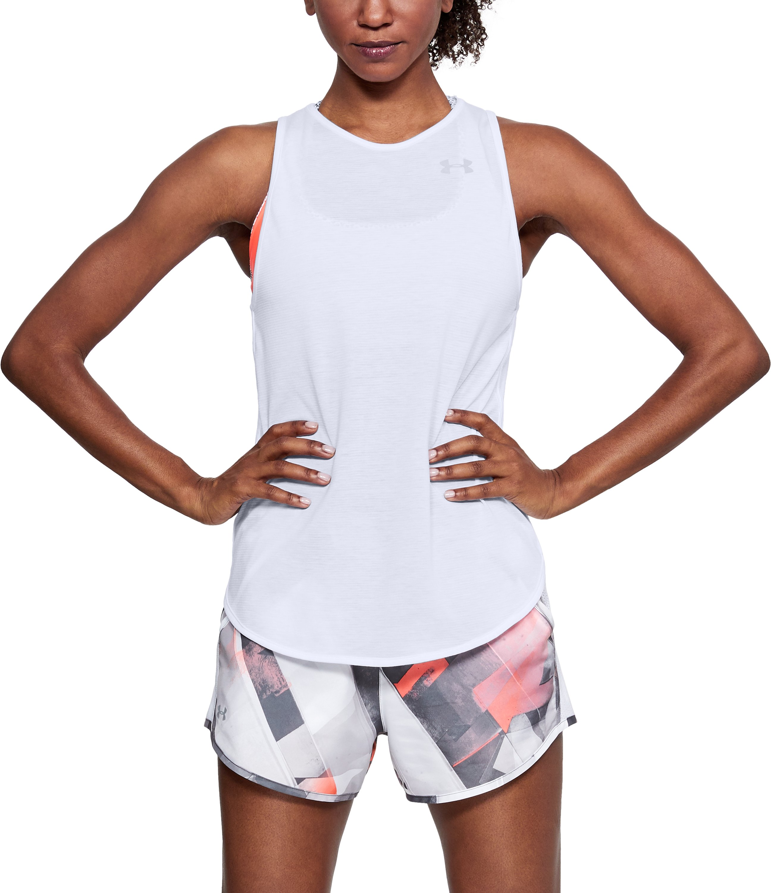 Women's UA Streaker Open Back Tank, White,