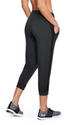 Under Armour UA Ladies Dark Grey Featherweight Fitted Fleece Crop Sports Pants M