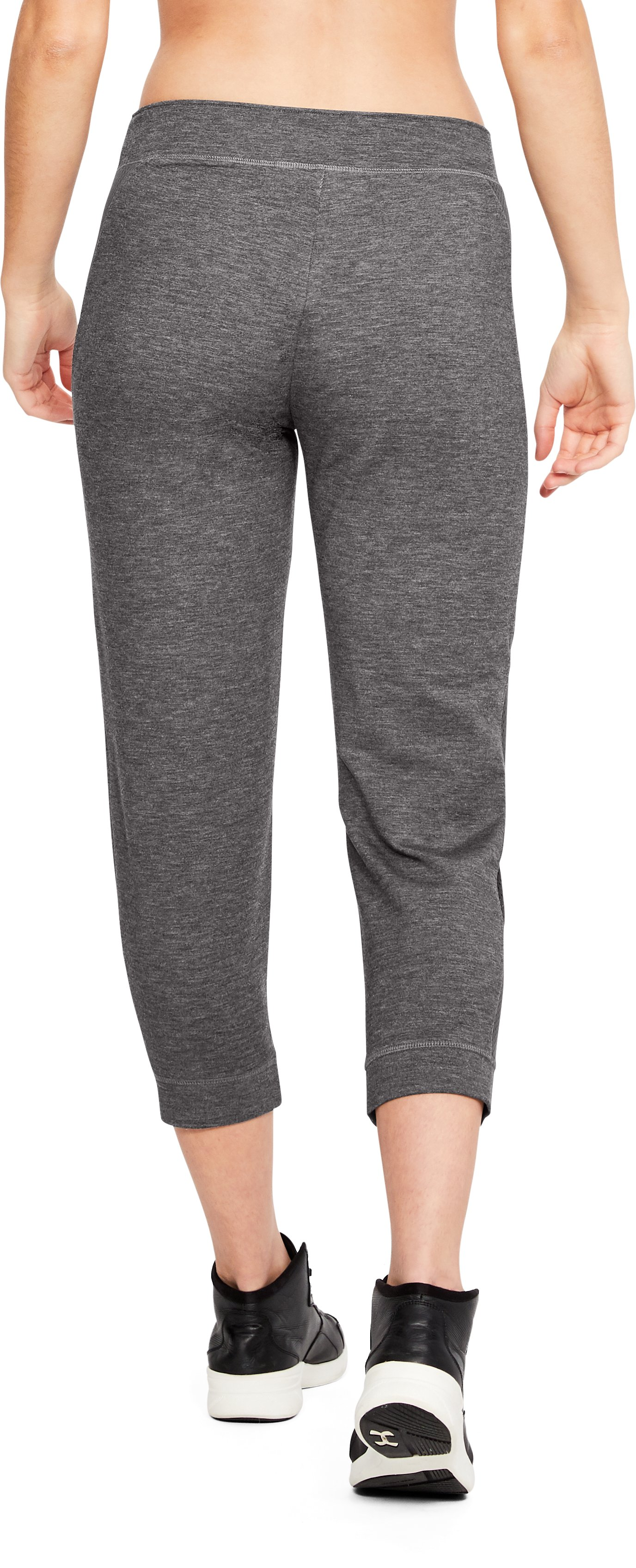Women's UA Featherweight Fleece Crop, CHARCOAL MEDIUM HEATHER,