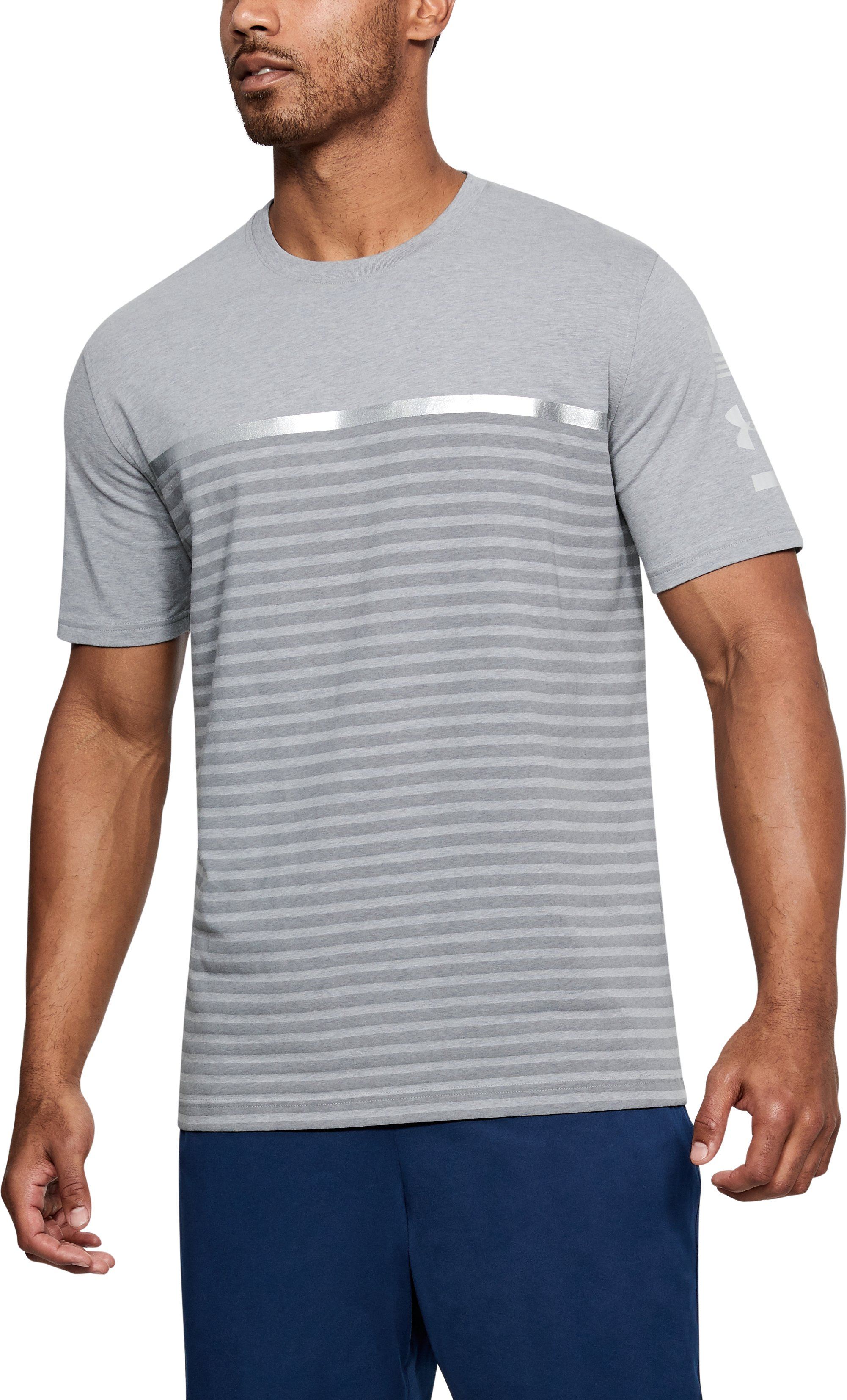 Men's UA USA Stripes T-Shirt, STEEL LIGHT HEATHER