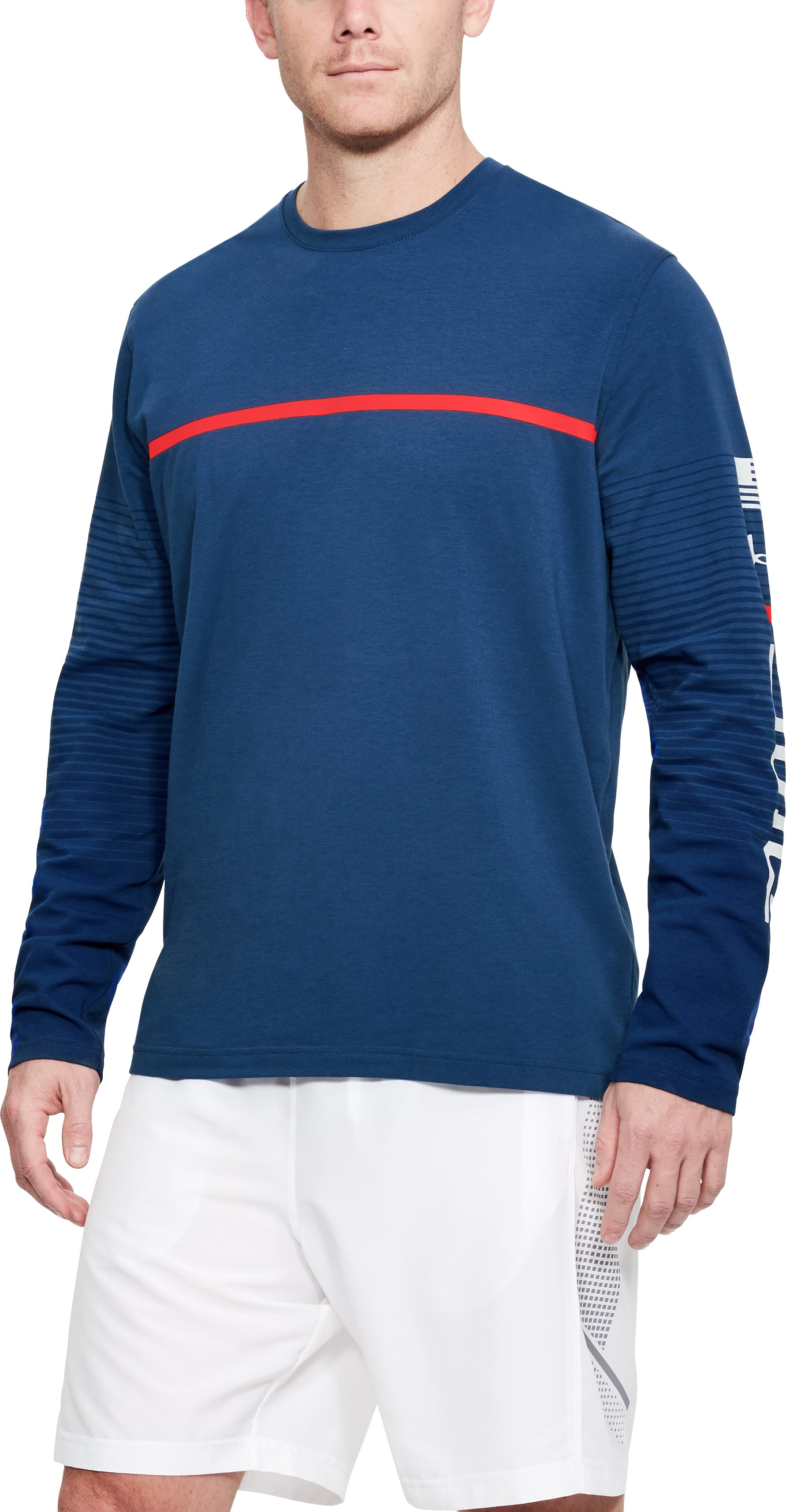 Men's UA USA Long Sleeve, AMERICAN BLUE,