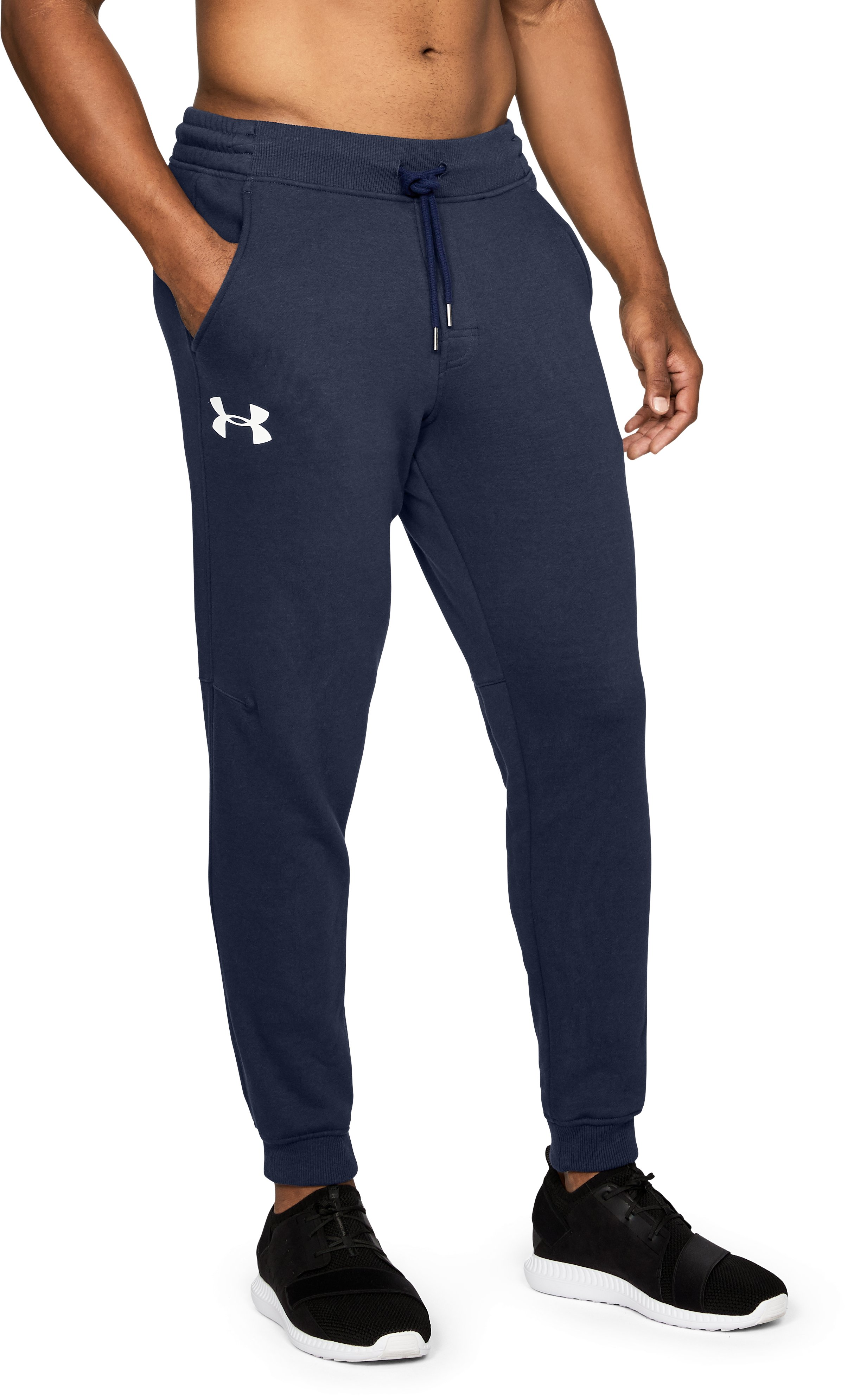Men's UA Rival Fleece Fitted Joggers, Midnight Navy