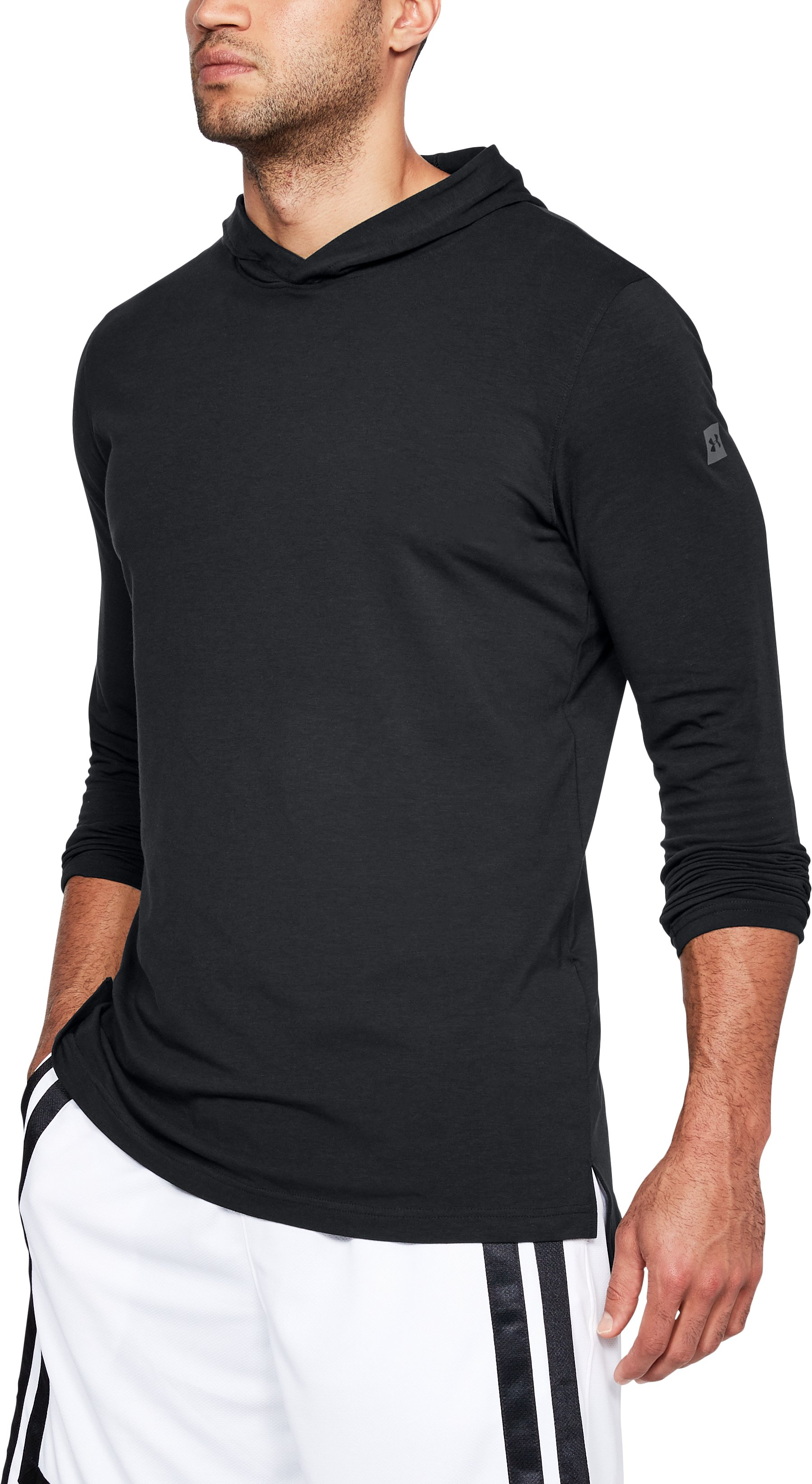 black tees Men's UA Baseline Long Sleeve Hooded Tee <strong>4-way stretch construction</strong> <strong>moves</strong> better in every direction.