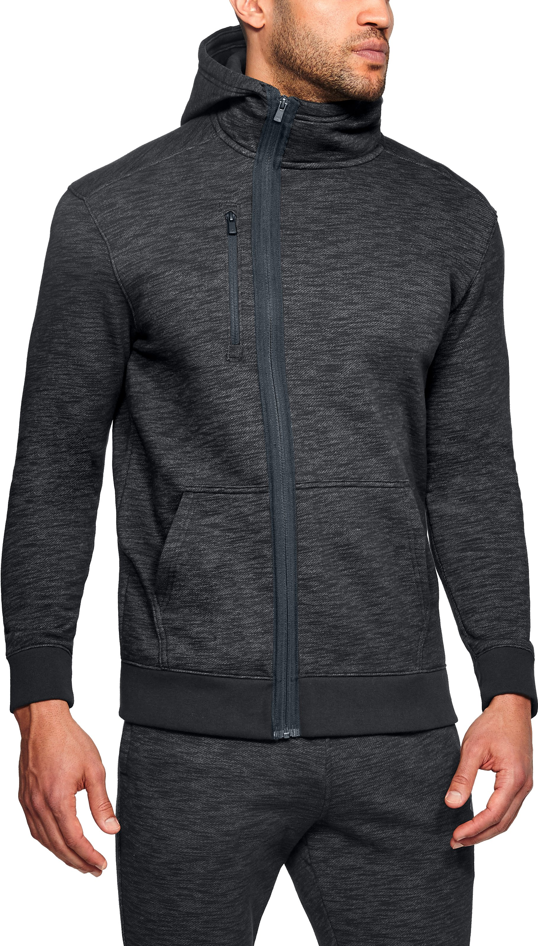 Men's UA Baseline Full Zip Hoodie, Black ,