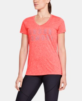 New to Outlet Women's UA Tech™ Twist Graphic V-Neck  3  Colors Available $16.79 to $20.99