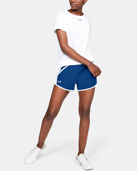 Women's UA Fly-By Shorts, Blue, pdpMainDesktop image number 1