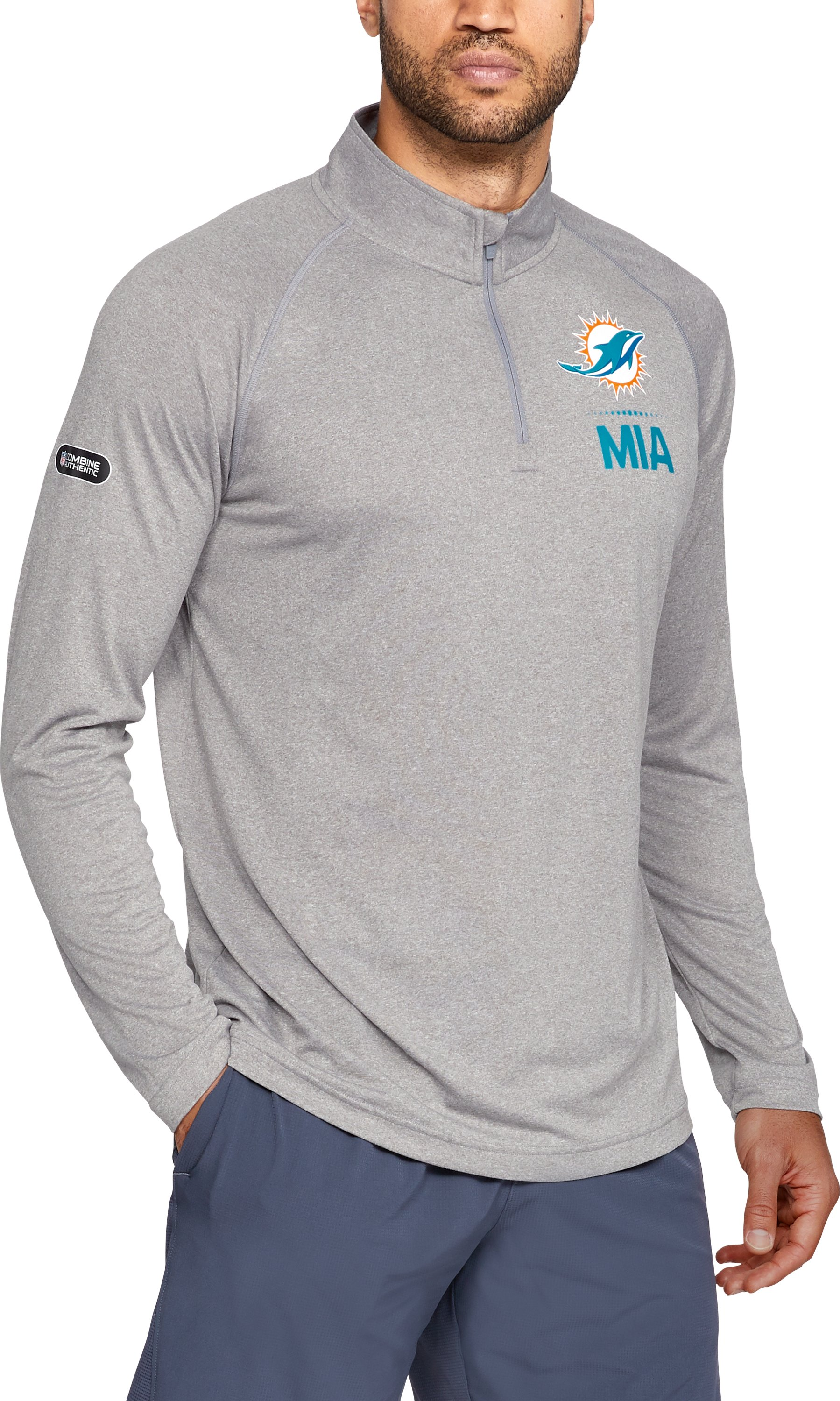 Men's NFL Combine Authentic UA Tech™ ¼ Zip Long Sleeve Shirt, NFL_Miami Dolphins_TGH, zoomed
