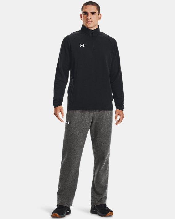 Men's UA Hustle Fleece ¼ Zip, Black, pdpMainDesktop image number 2