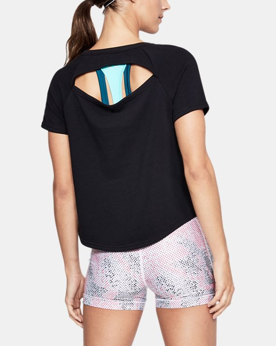 Women's UA Microthread Terry Short Sleeve, Black, pdpMainDesktop image number 0