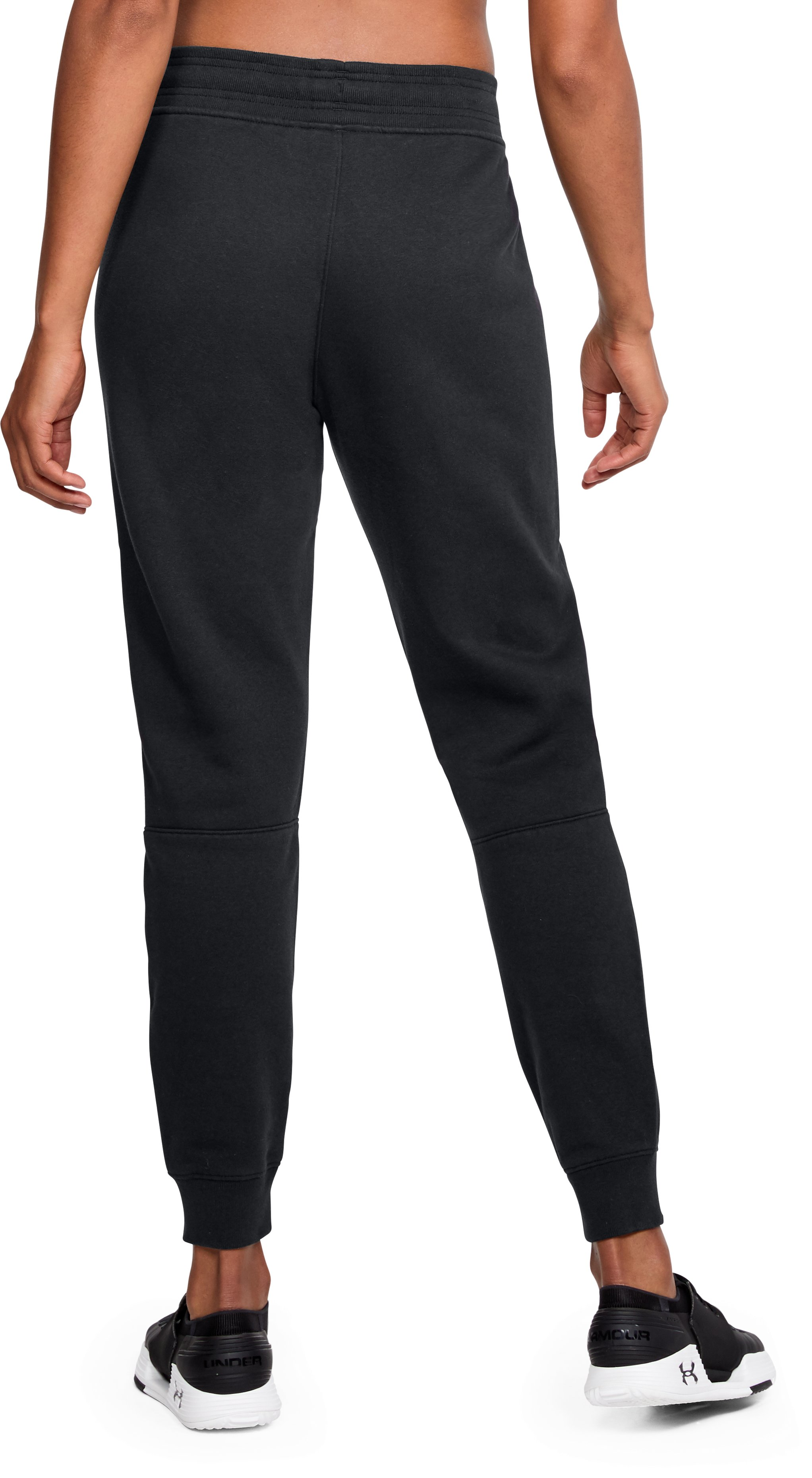 Women's UA Favorite Fleece Graphic Pants, Black , undefined