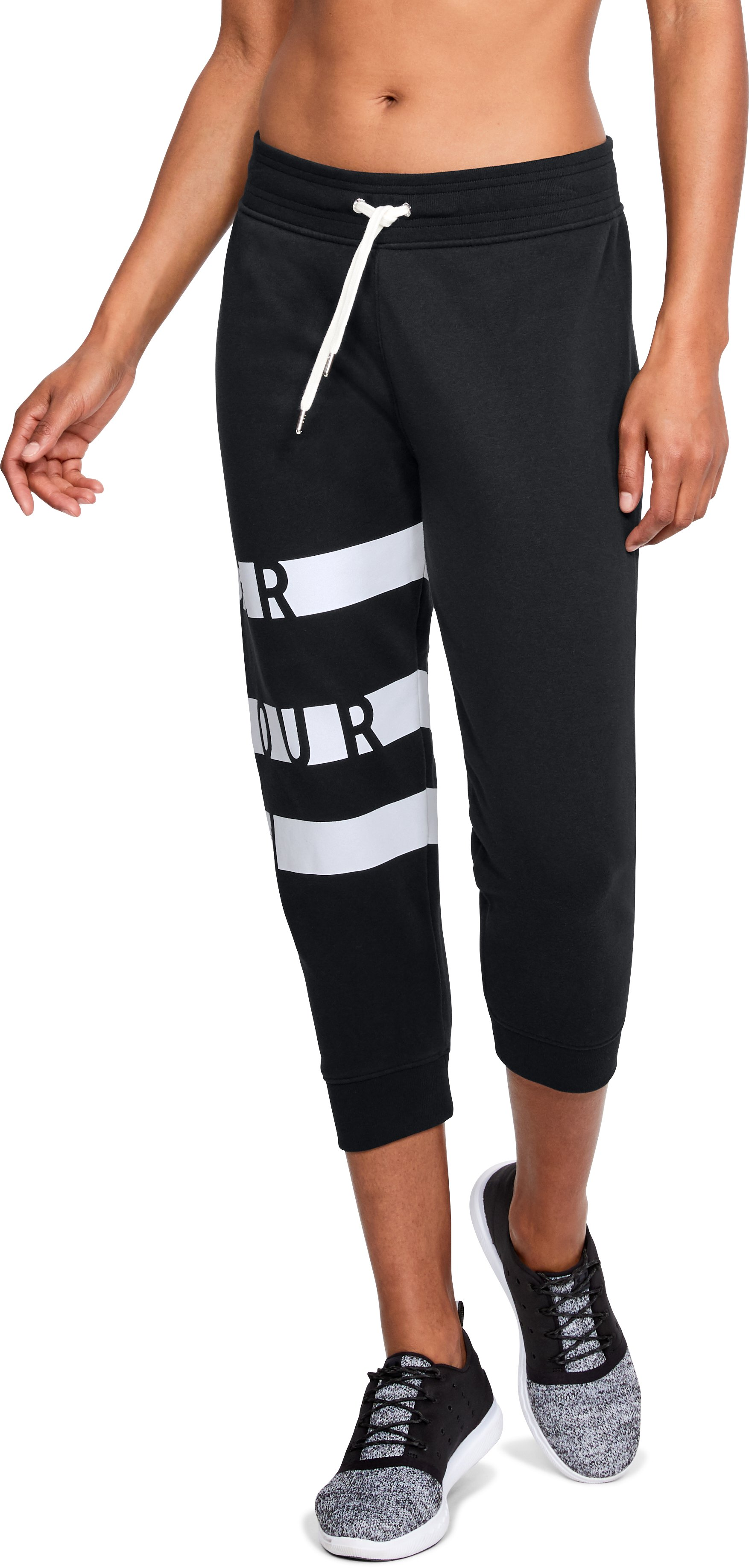 Women's UA Favorite Fleece Graphic Capris, Black