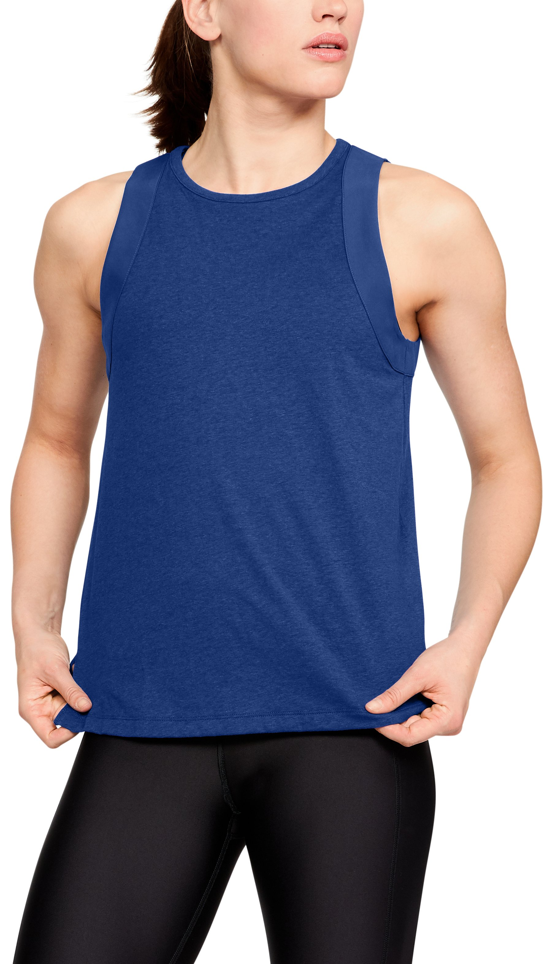 tri blends Women's UA Tri-Blend Cutout Tank Great top!...Definitely runs larger, which is sometimes a good thing....Cute top, very light, but the cut on the back has a weird look while wearing it.