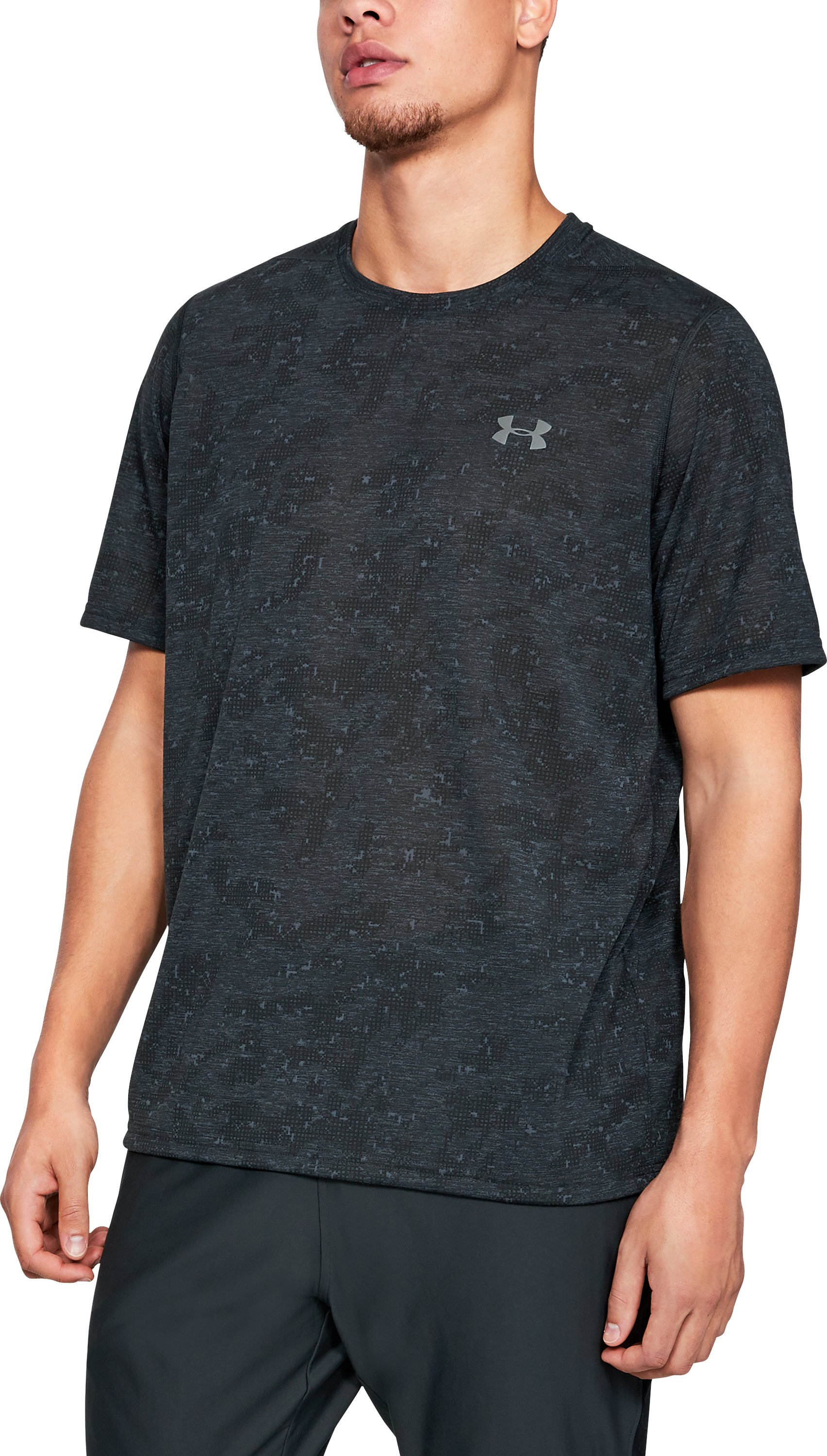 Men's UA Siro Printed Short Sleeve, Black ,