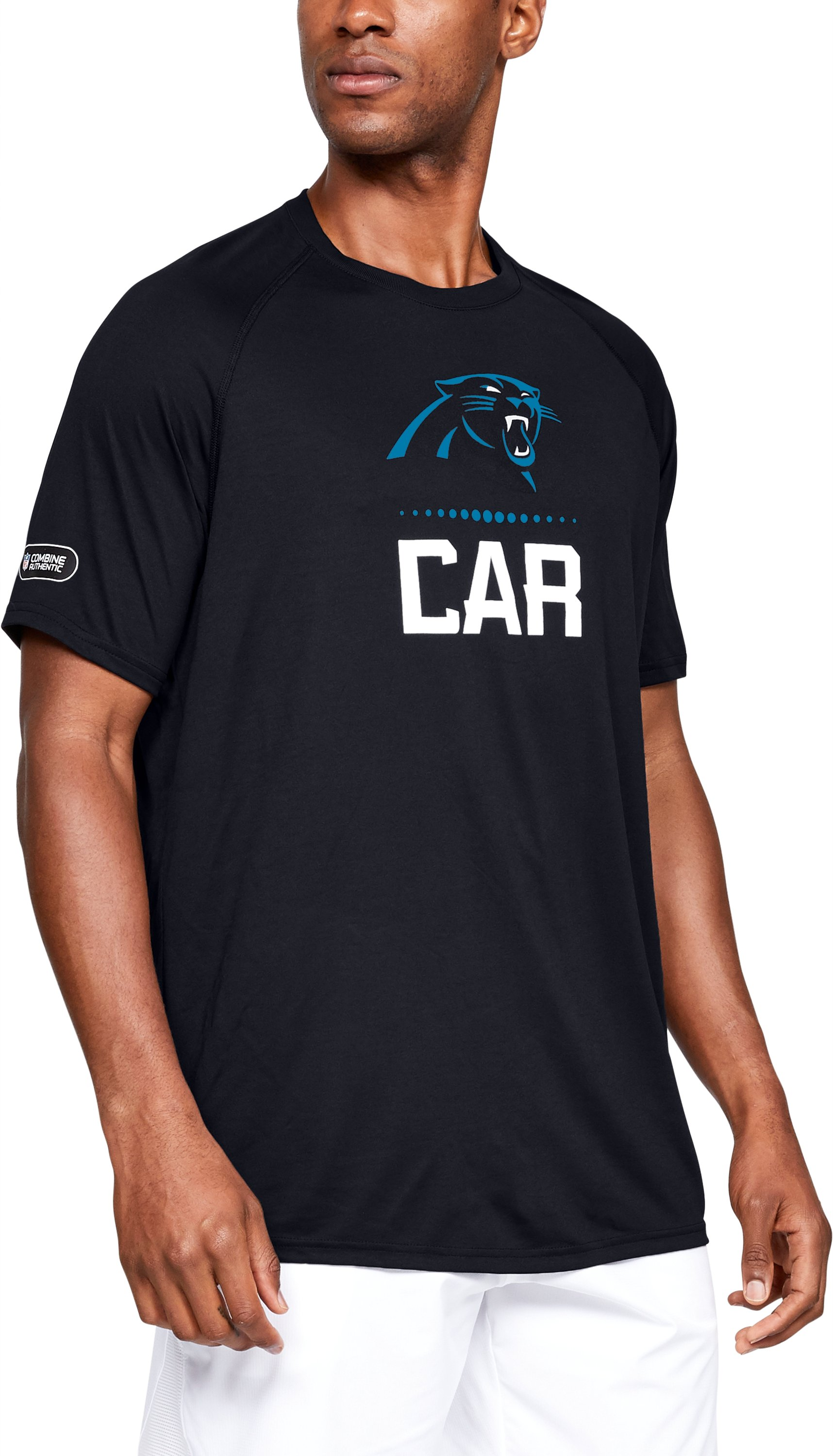 Men's NFL Combine Authentic UA Tech™ Lockup Short Sleeve, NFL_Carolina Panthers_Black