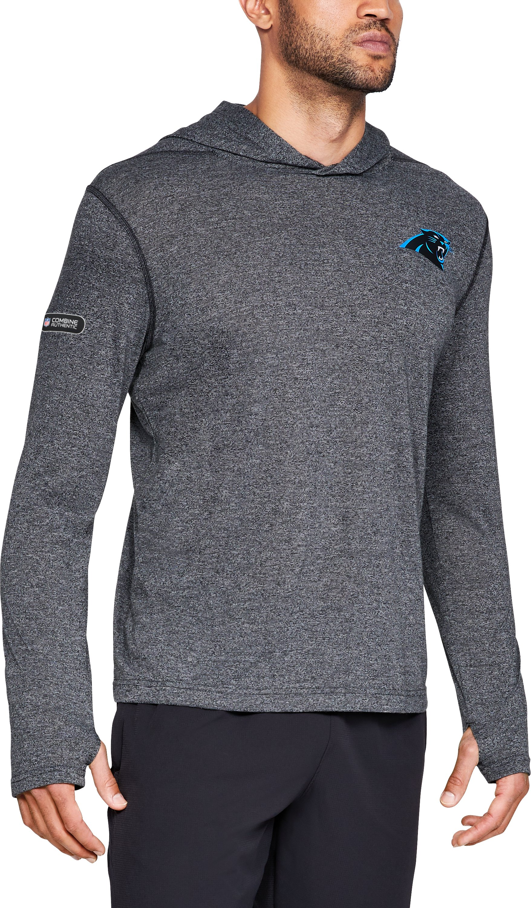 Men's NFL Combine Authentic UA  Siro Popover Hoodie, NFL_Carolina Panthers_Black