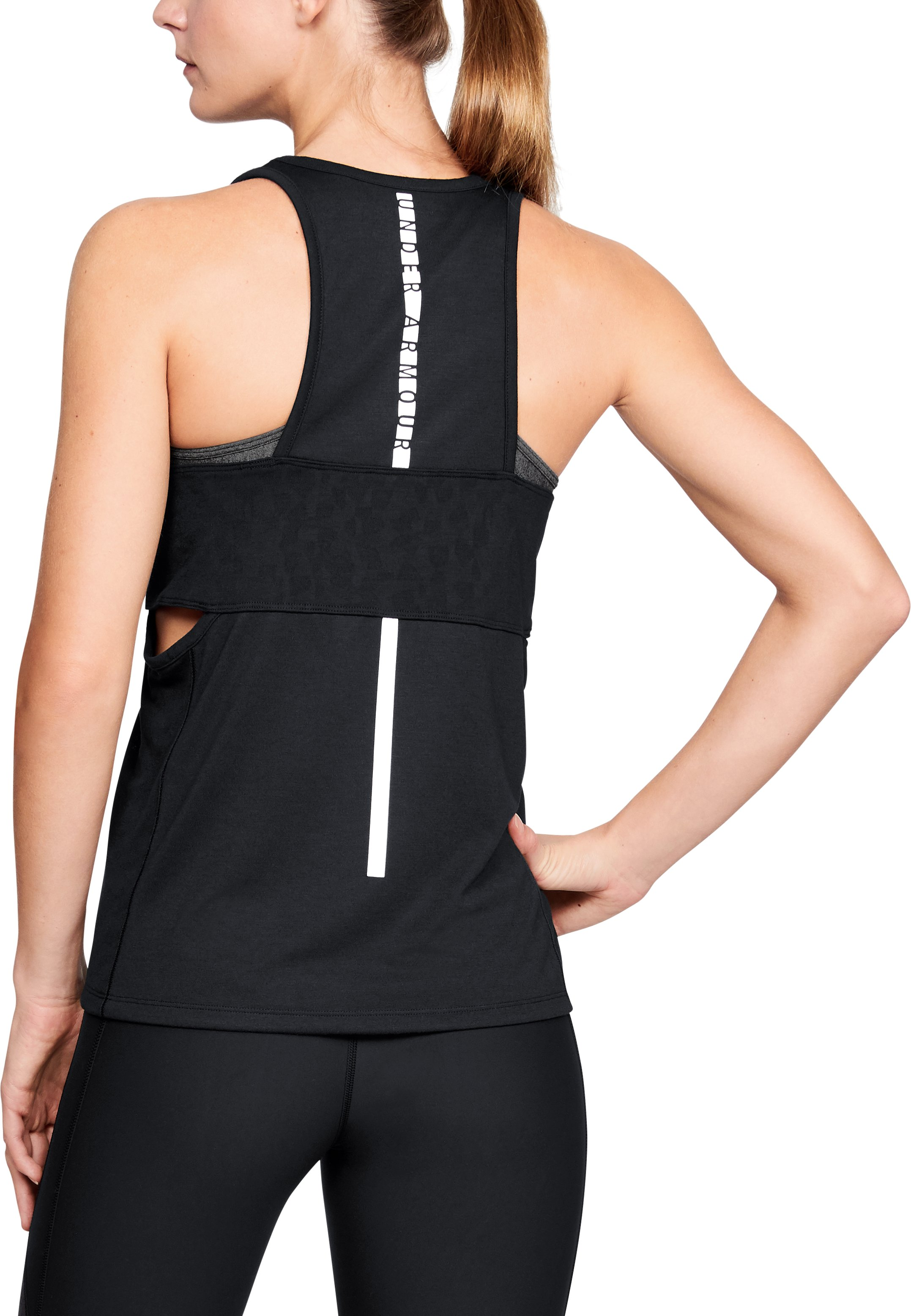 Women's UA Essentials Banded Graphic Tank, Black ,