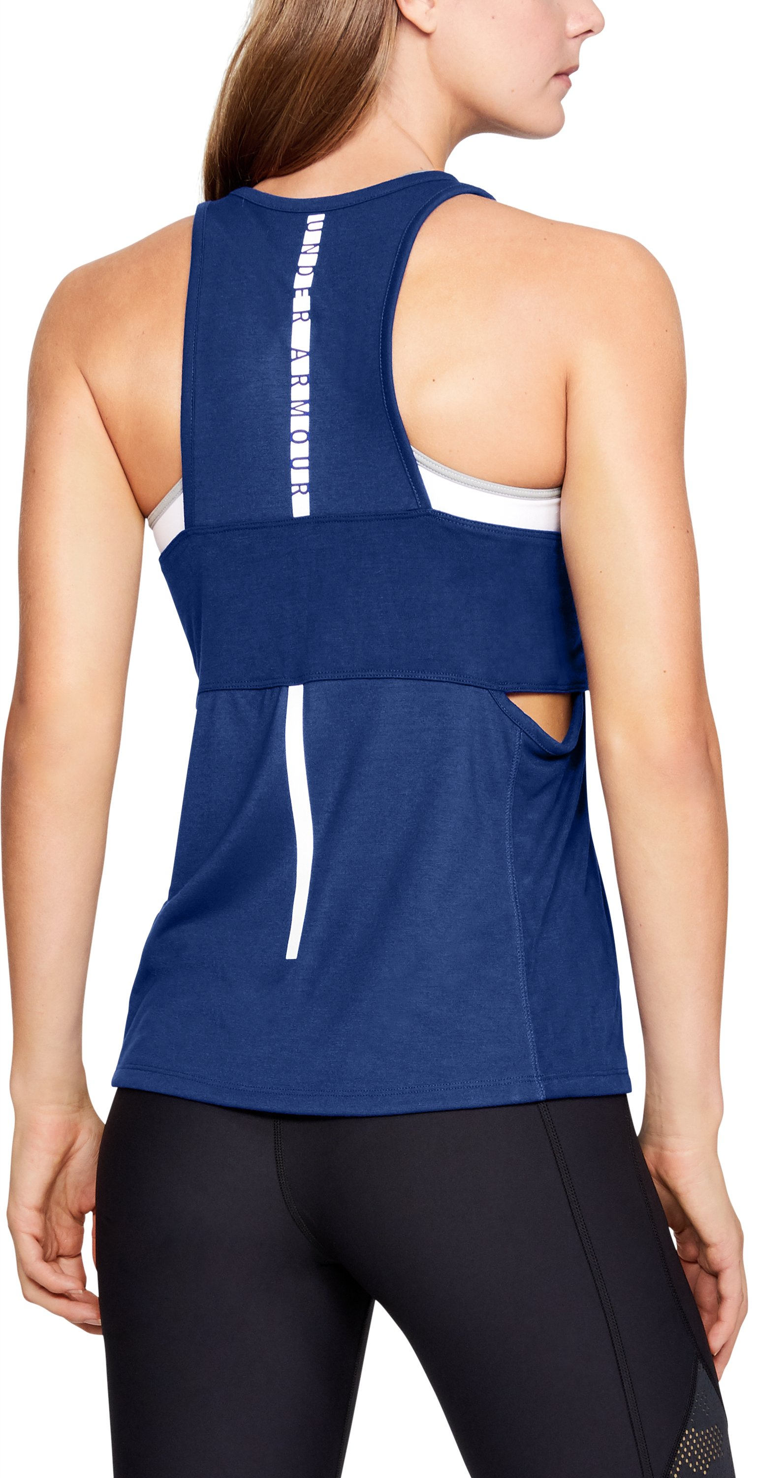 Women's UA Essentials Banded Graphic Tank, FORMATION BLUE,