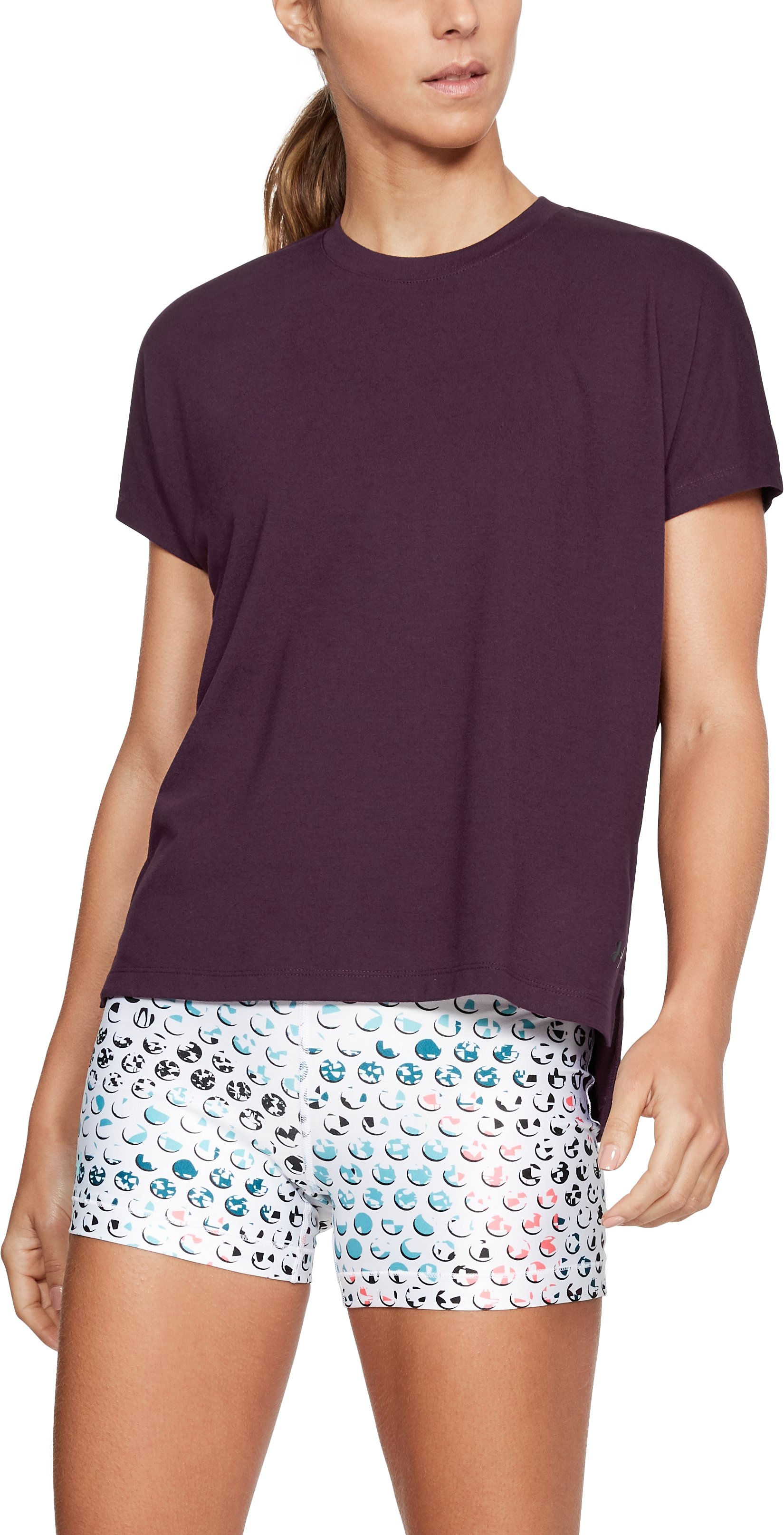 Women's UA Essentials Wordmark T-Shirt, MERLOT,